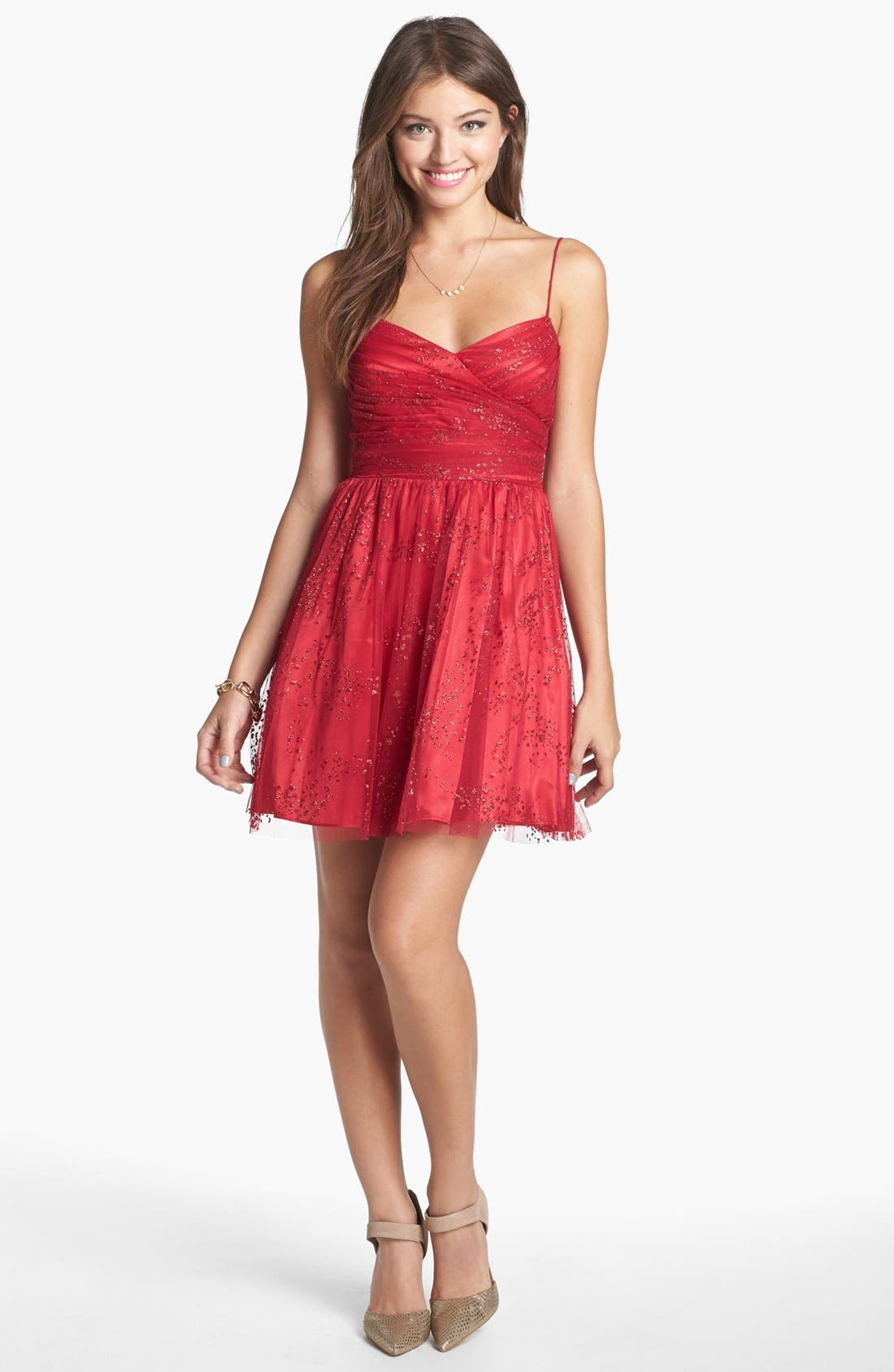 Alternate Image 1 Selected - Hailey Logan Glitter Back Cutout Fit & Flare Dress (Juniors) (Online Only)