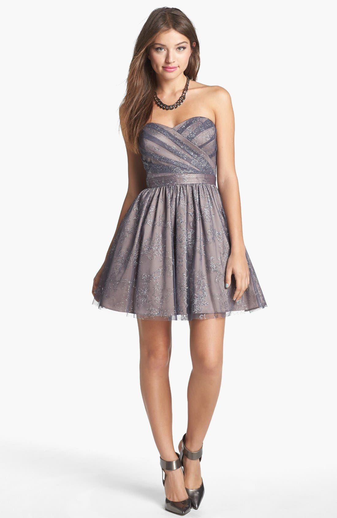 Metallic Mesh Fit & Flare Dress,                             Main thumbnail 1, color,                             Taupe