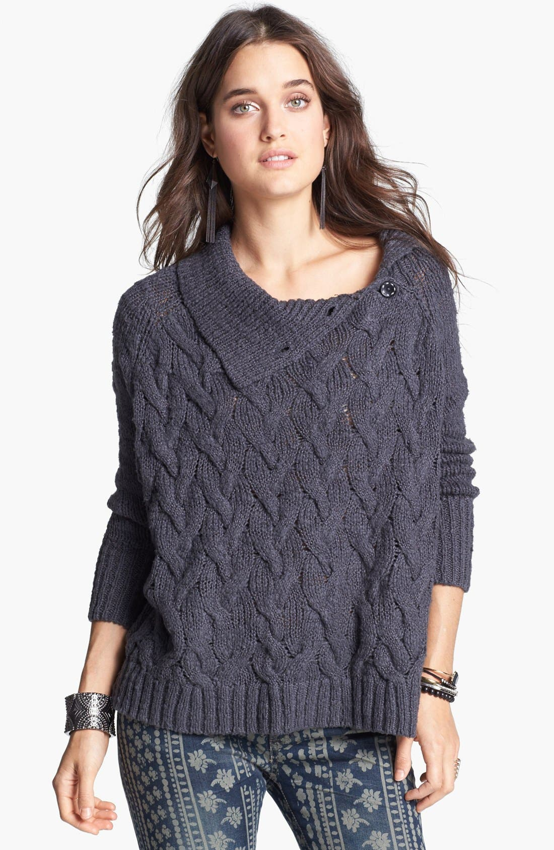 Alternate Image 1 Selected - Free People 'Berkeley' Cable Knit Sweater
