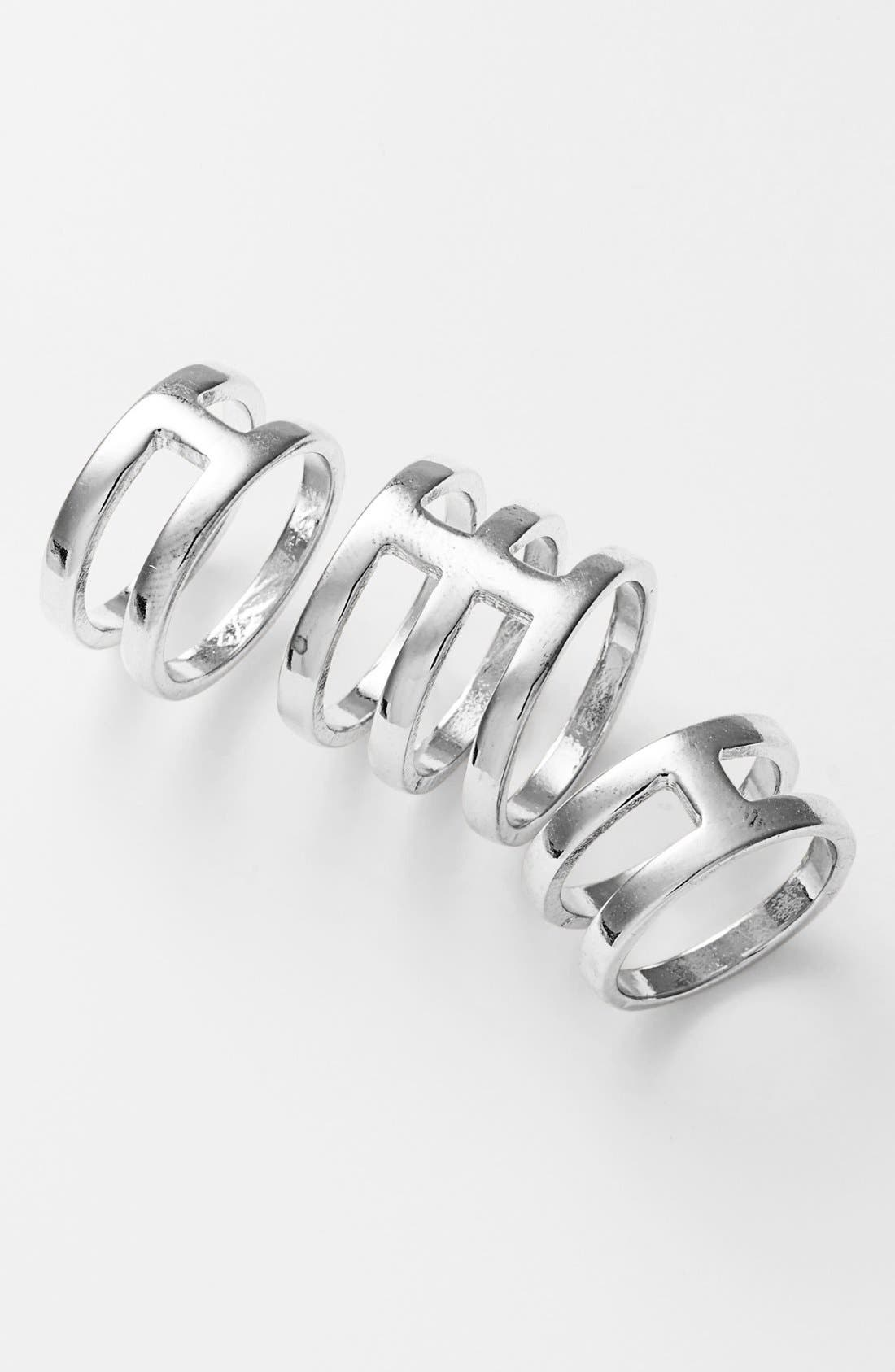 Main Image - Leith Cutout Statement Rings (Set of 3)