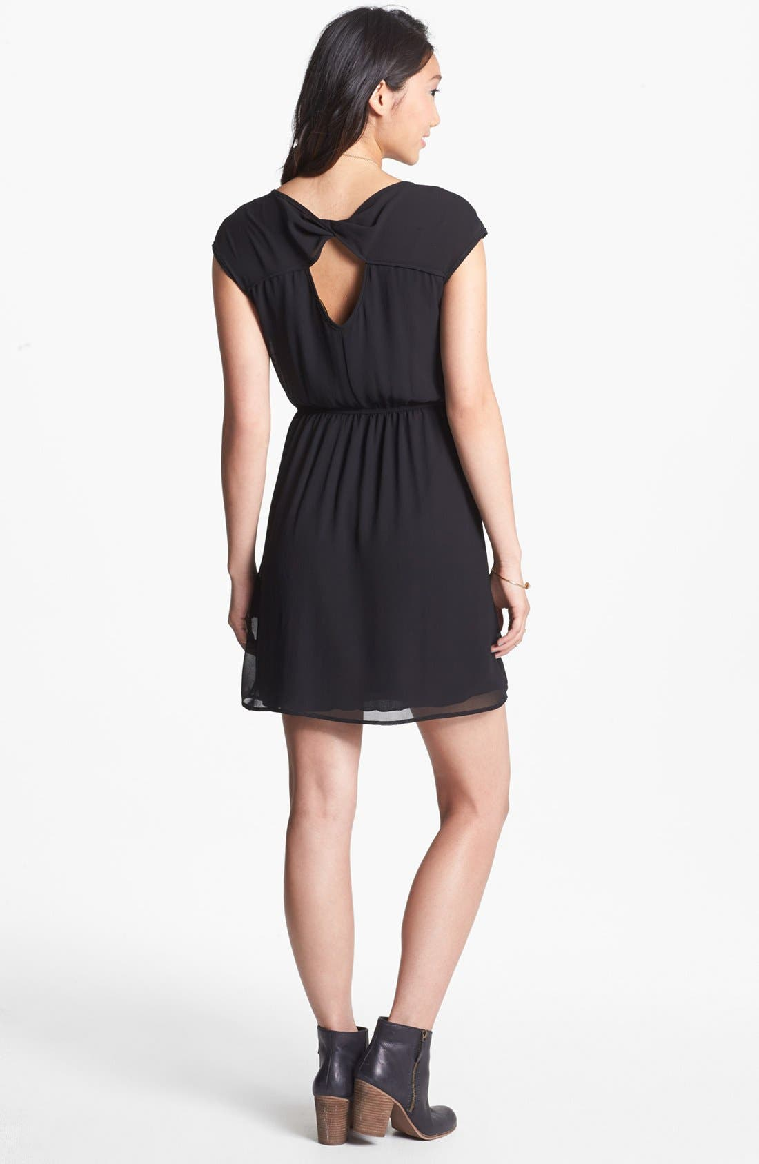 Alternate Image 2  - dee elle Twist Back Cutout Skater Dress (Juniors)