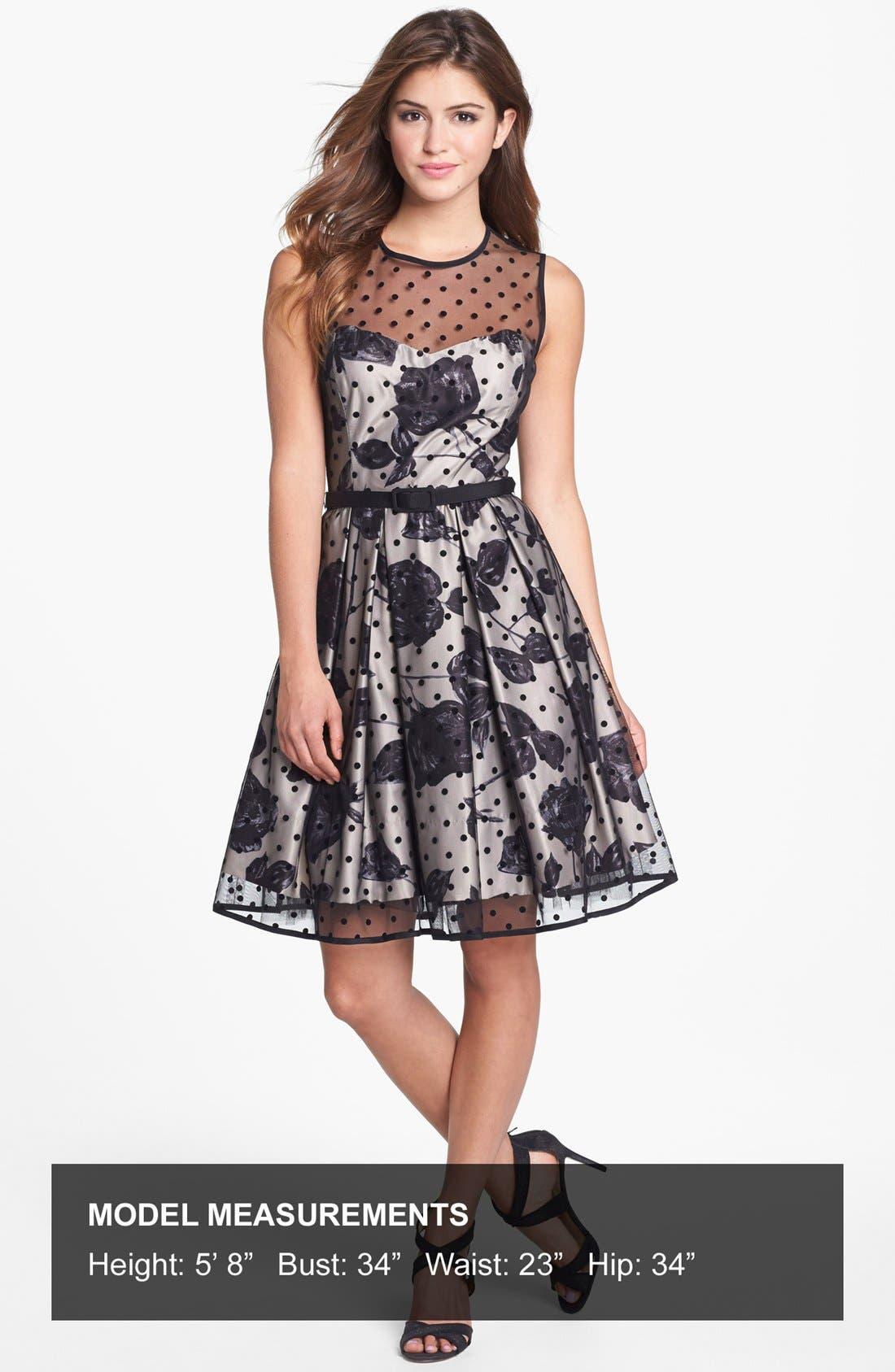 Alternate Image 4  - Eliza J Illusion Dot Print Fit & Flare Dress