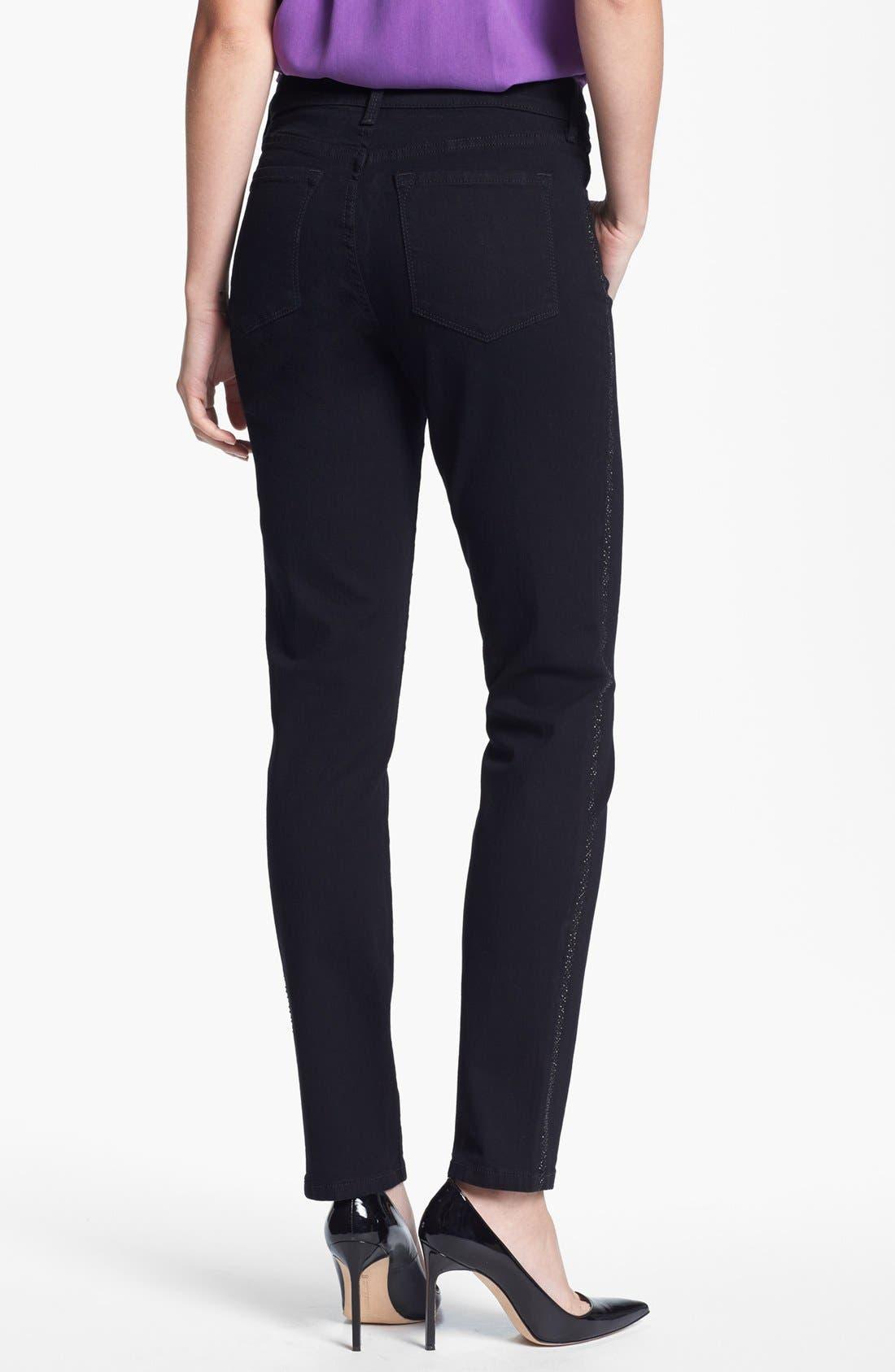 Alternate Image 2  - NYDJ 'Alina' Embellished Trim Stretch Skinny Jeans (Black)