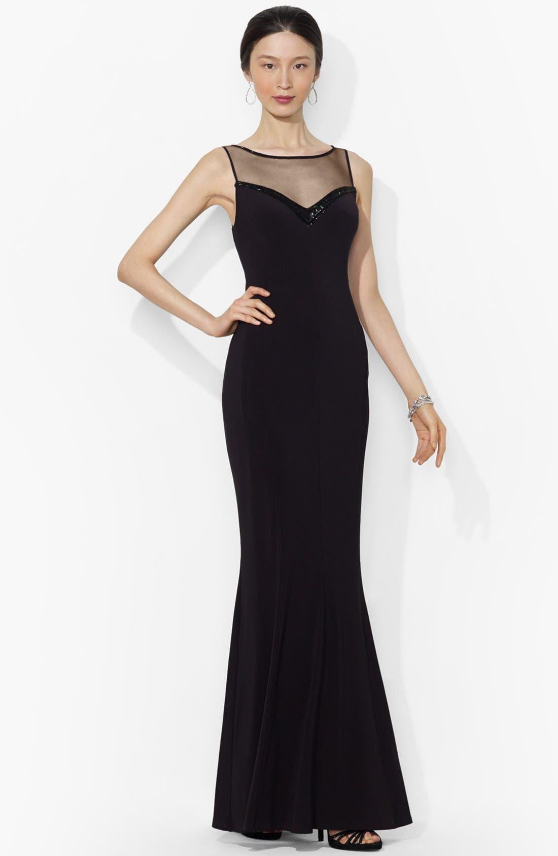 Main Image - Lauren Ralph Lauren Embellished Yoke Mermaid Gown (Regular & Petite)