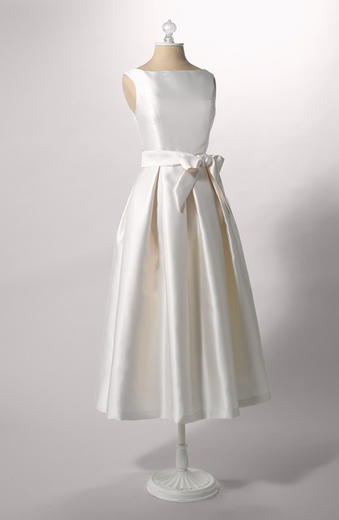 Faille Satin Fit & Flare Dress,                             Alternate thumbnail 4, color,