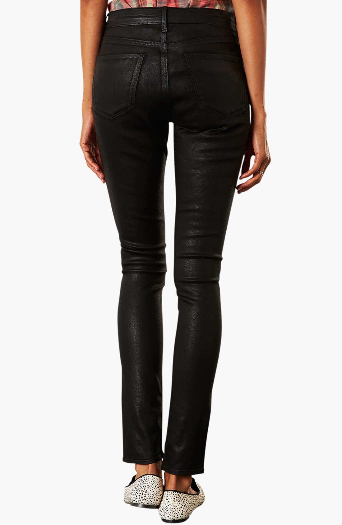 Alternate Image 2  - Topshop Moto 'Leigh' Coated Skinny Jeans (Black)