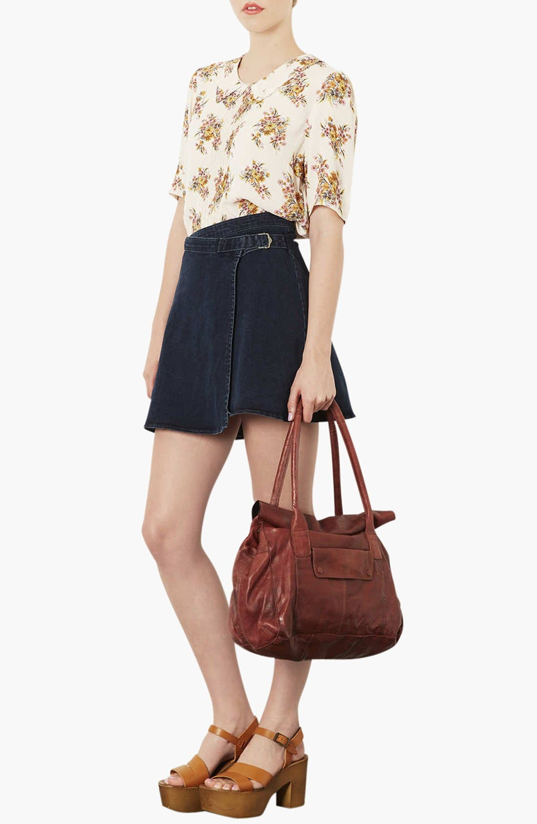 Alternate Image 2  - Topshop Roll Top Leather Tote Bag