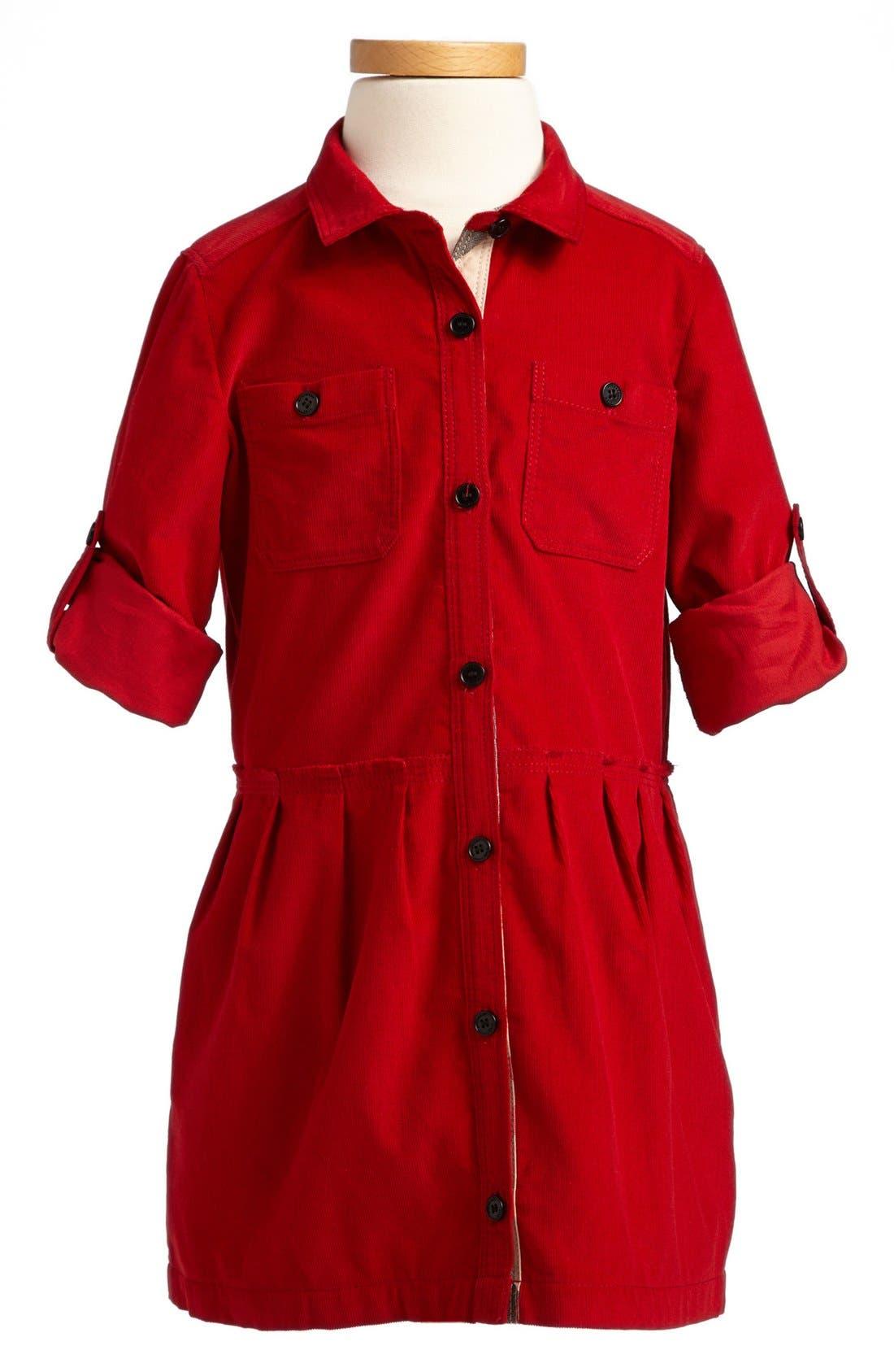 Main Image - Burberry Corduroy Dress (Toddler Girls, Little Girls & Big Girls)