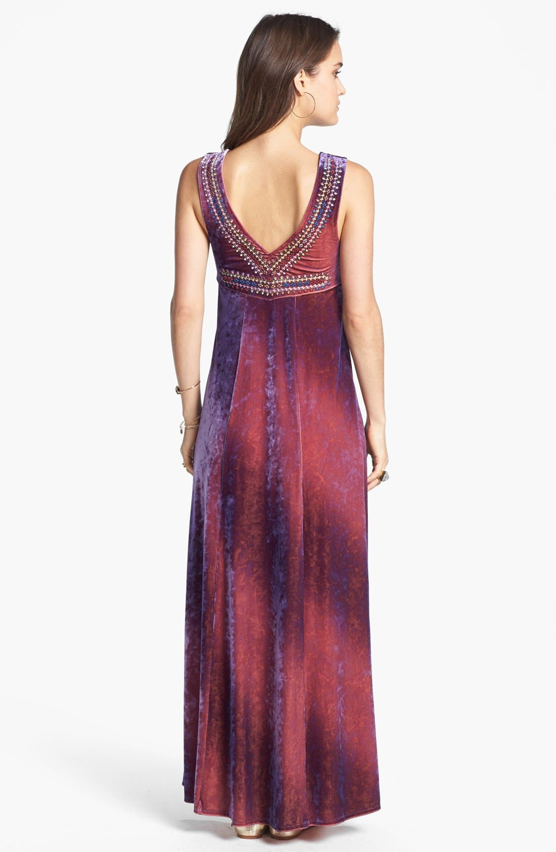 Alternate Image 2  - Free People 'Sunset' Embroidered Crushed Velvet Maxi Dress