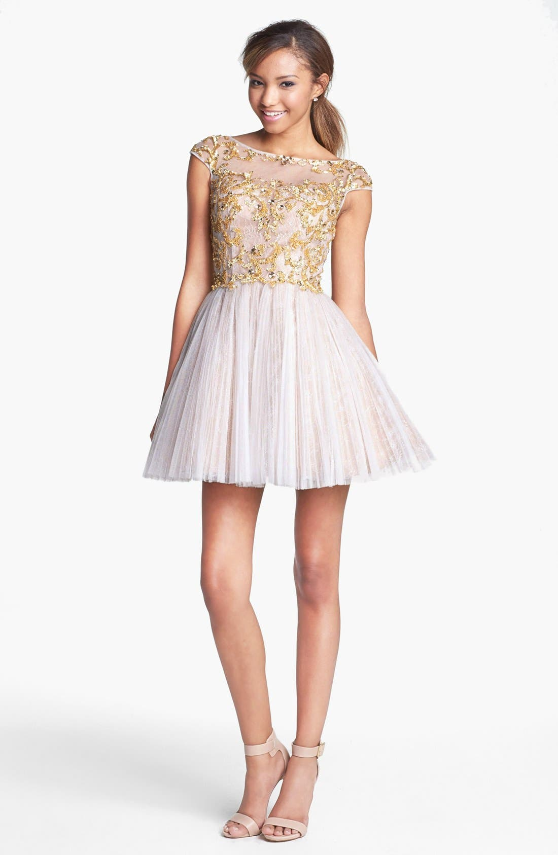 Alternate Image 1 Selected - Sherri Hill Embellished Lace Fit & Flare Dress