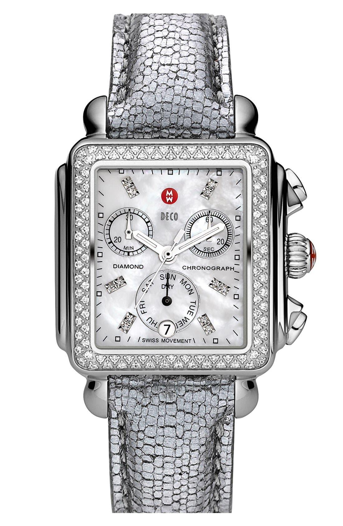 Alternate Image 2  - MICHELE 'Deco Diamond' Customizable Watch