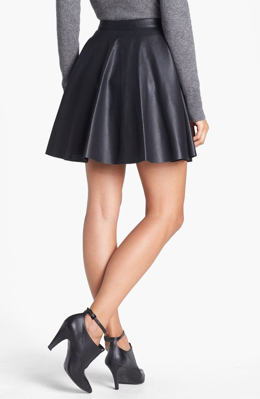 Alternate Image 2  - Vince Camuto Perforated Faux Leather Skater Miniskirt