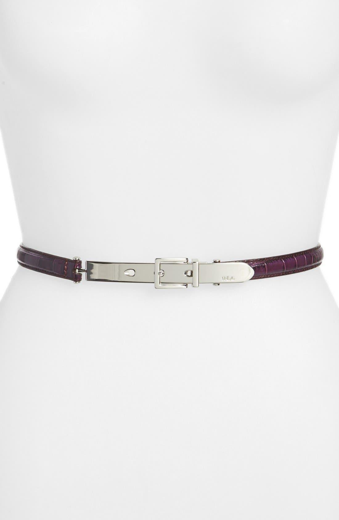 Alternate Image 1 Selected - Lauren Ralph Lauren Croc Embossed Belt