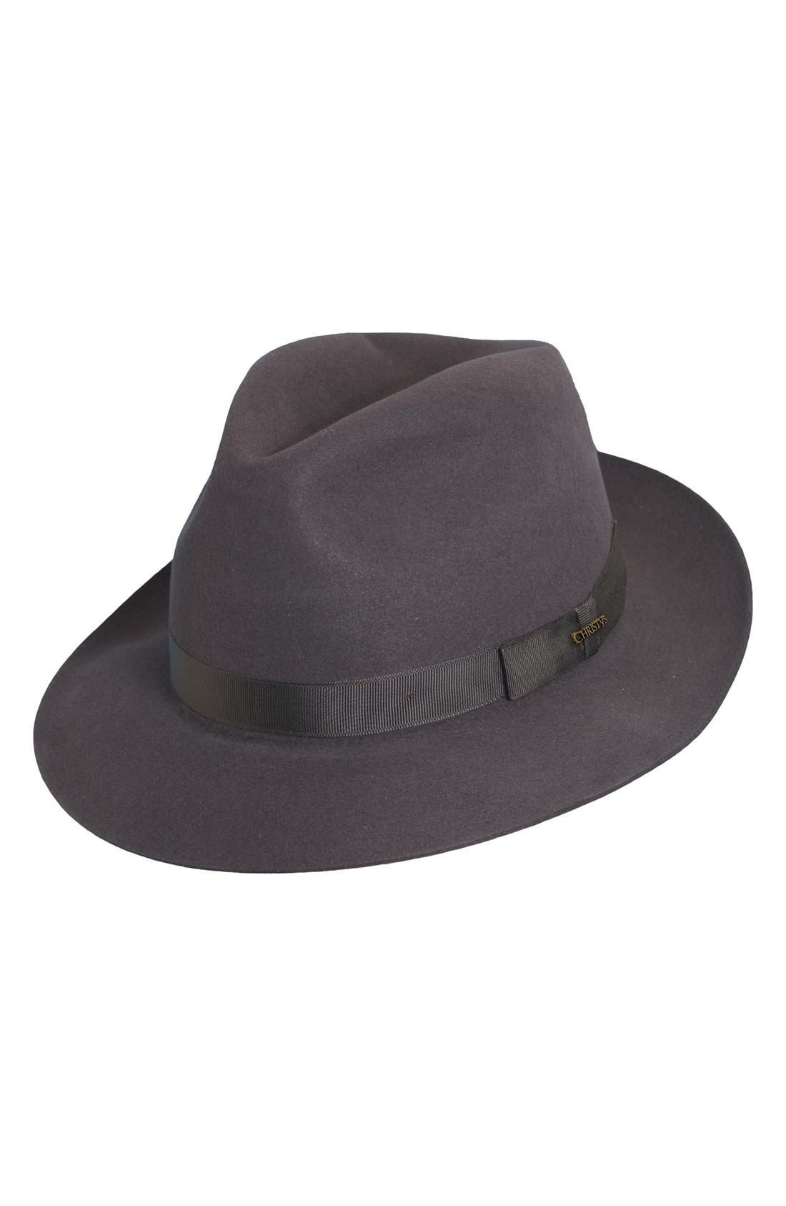 Christys Fur Felt Trilby,                             Main thumbnail 1, color,                             Grey