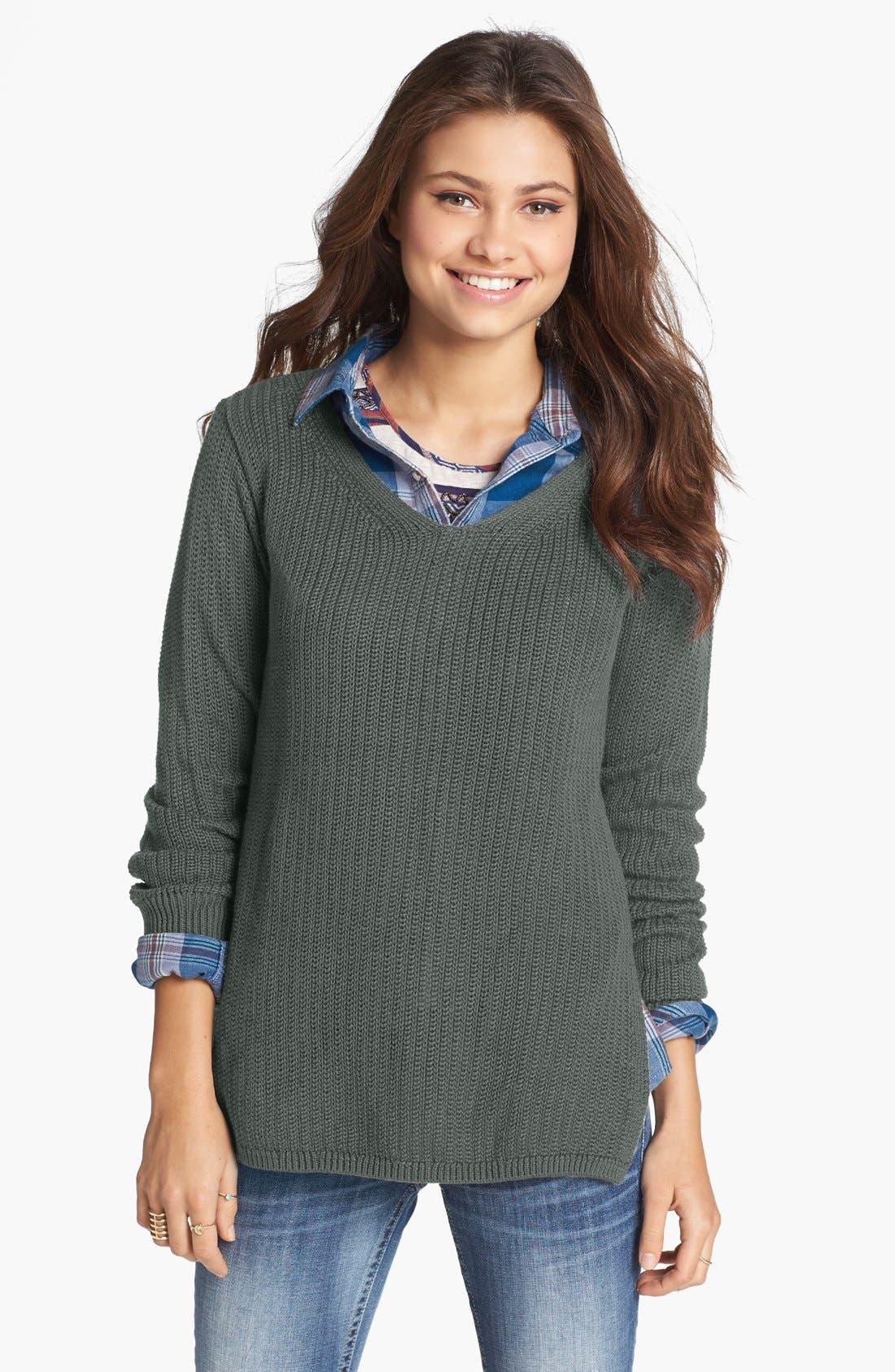 Main Image - BP. Side Slit V-Neck Sweater (Juniors)