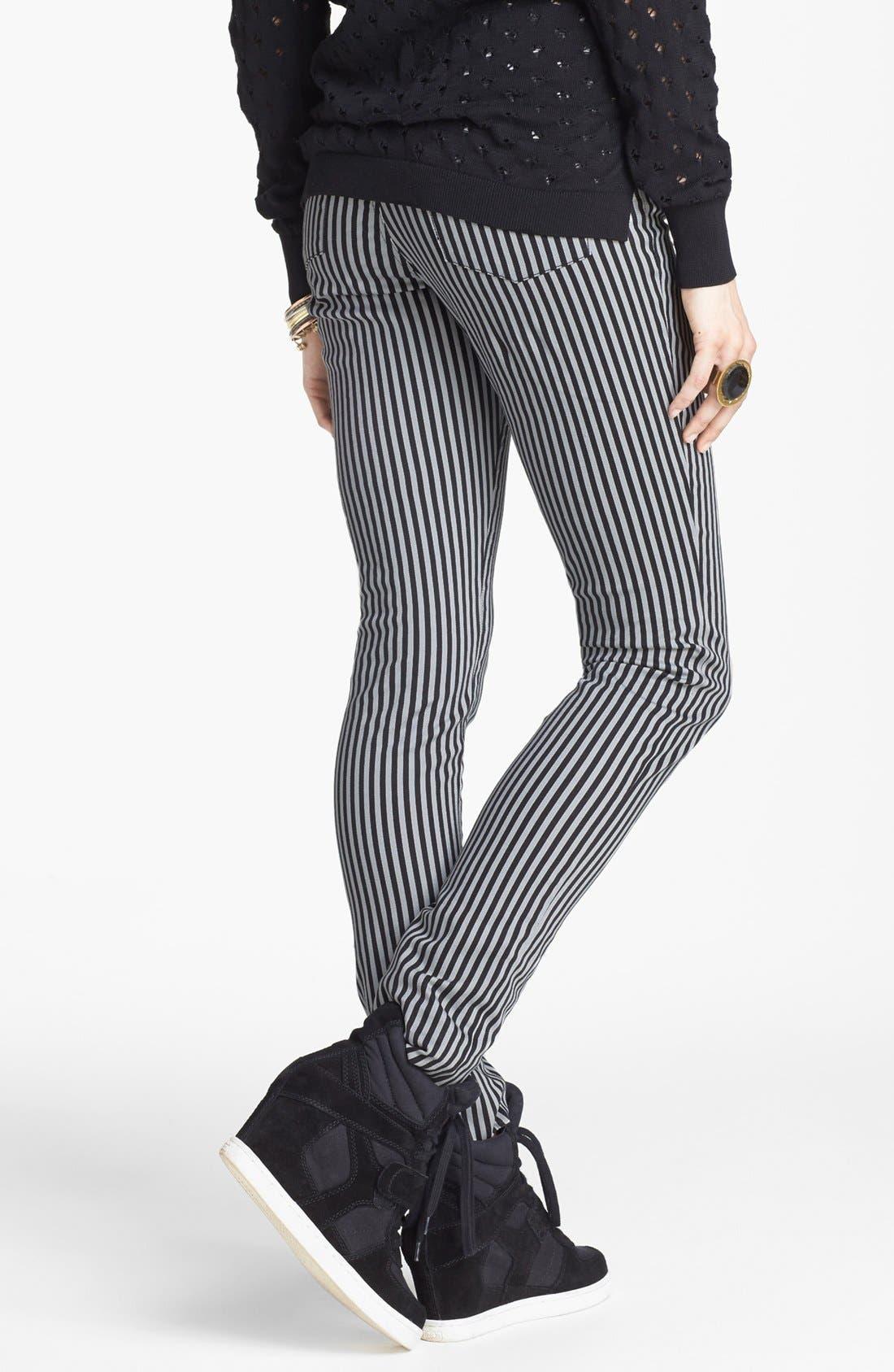Alternate Image 2  - INSTANT VINTAGE Stretch Denim Stripe Skinny Jeans (Juniors)