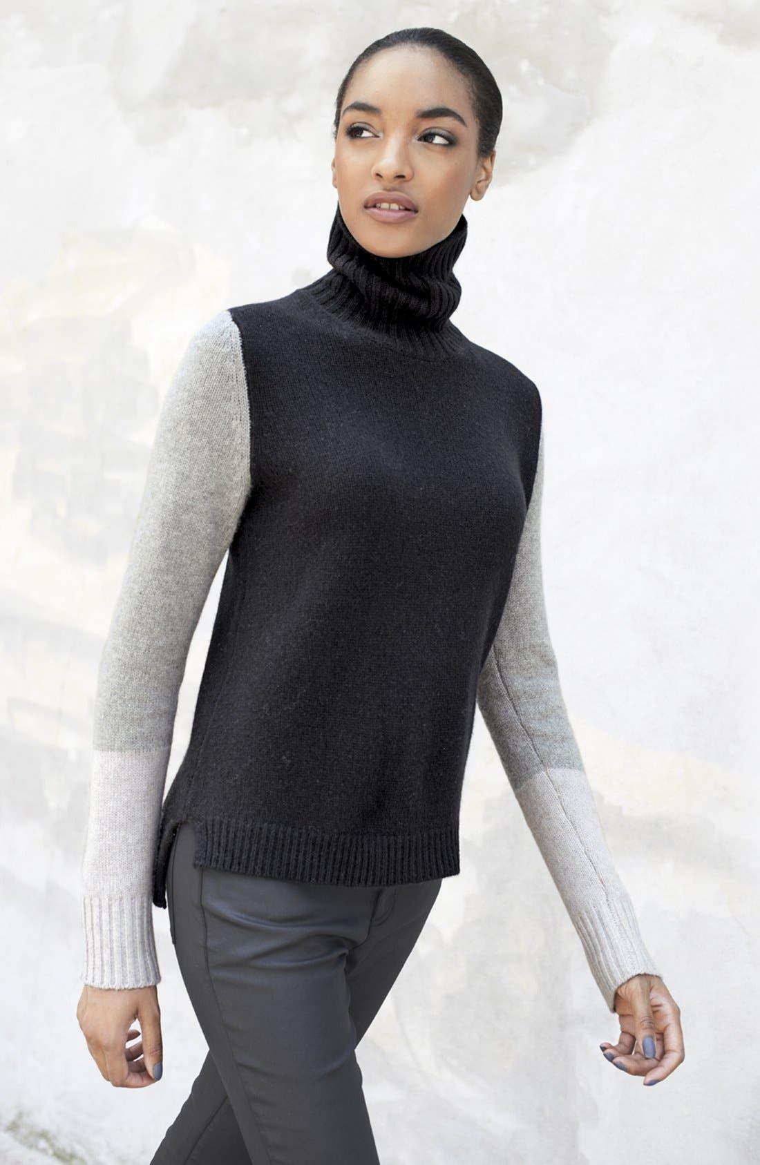 Alternate Image 4  - Pure Amici Colorblock Cashmere Turtleneck Sweater