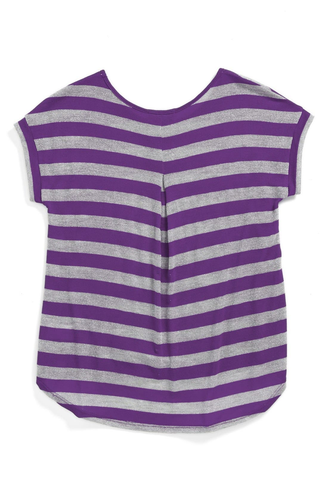 Alternate Image 2  - Soprano Metallic Stripe Top (Big Girls)