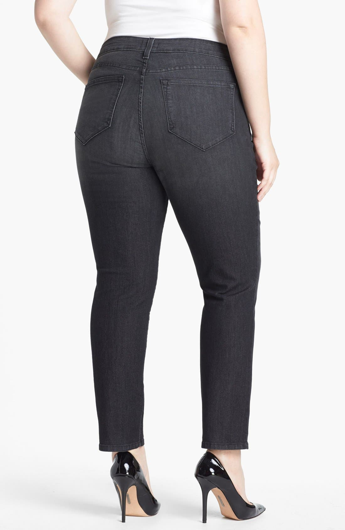 Alternate Image 2  - NYDJ 'Sheri' Stretch Ankle Jeans (Onyx) (Plus Size)