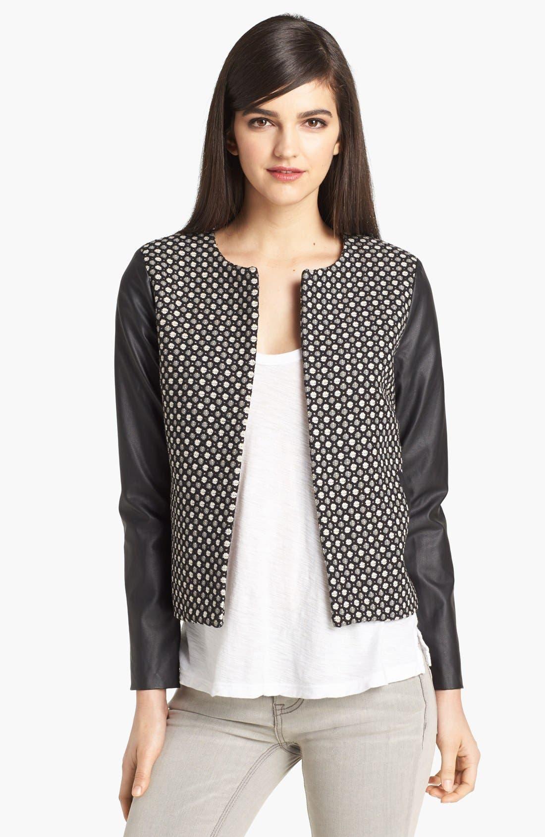 Alternate Image 1 Selected - Pure Sugar Faux Leather Sleeve Jacquard Jacket