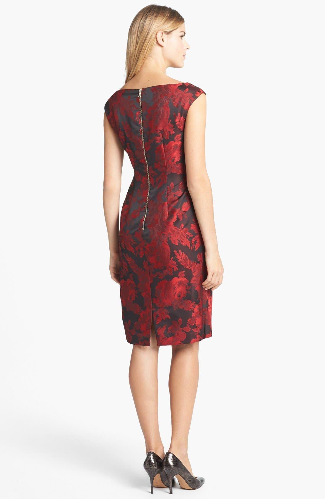 Alternate Image 2  - Maggy London Side Drape Jacquard Sheath Dress