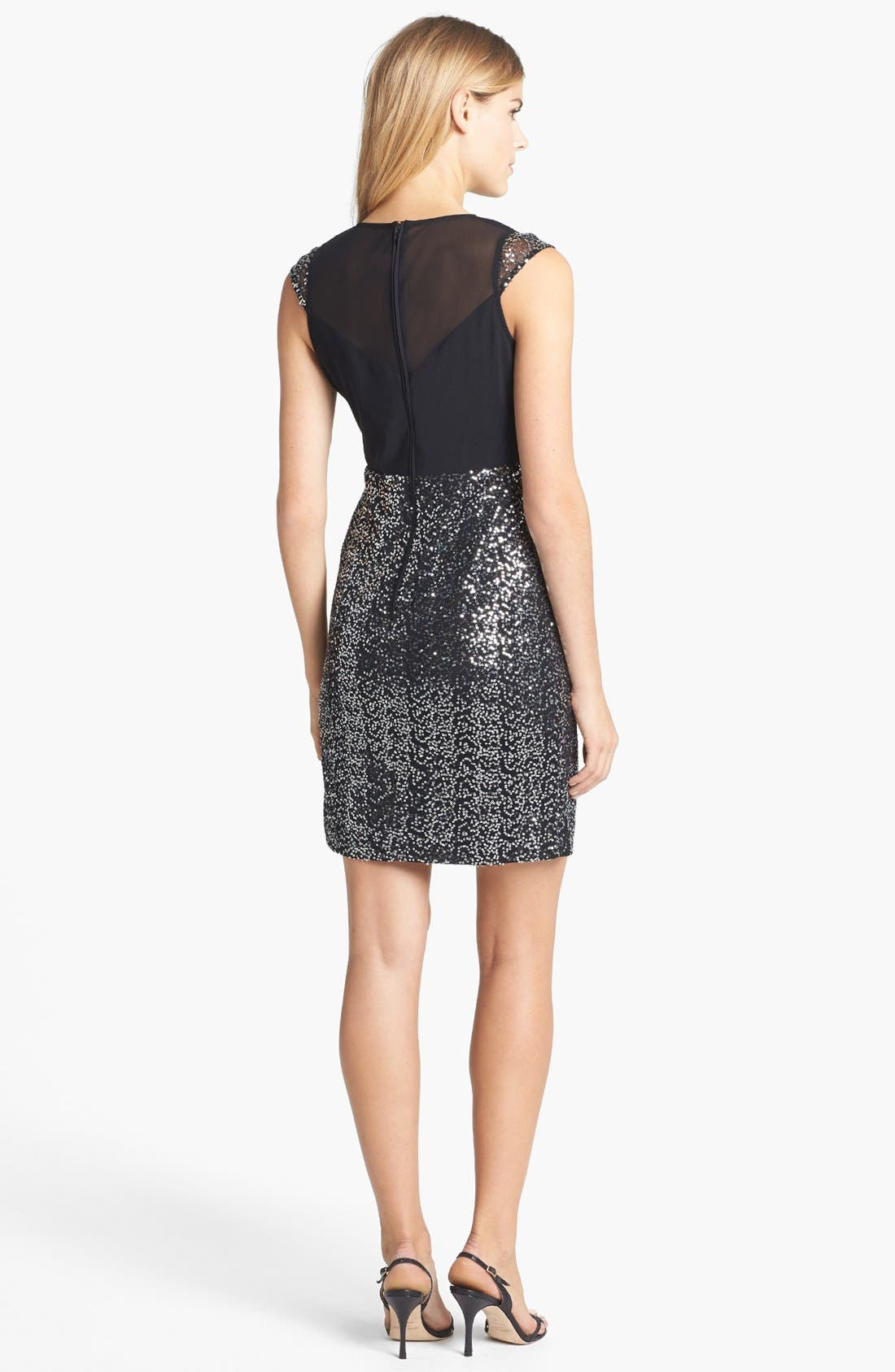Alternate Image 2  - Vince Camuto Knot Front Sequin Mesh Dress