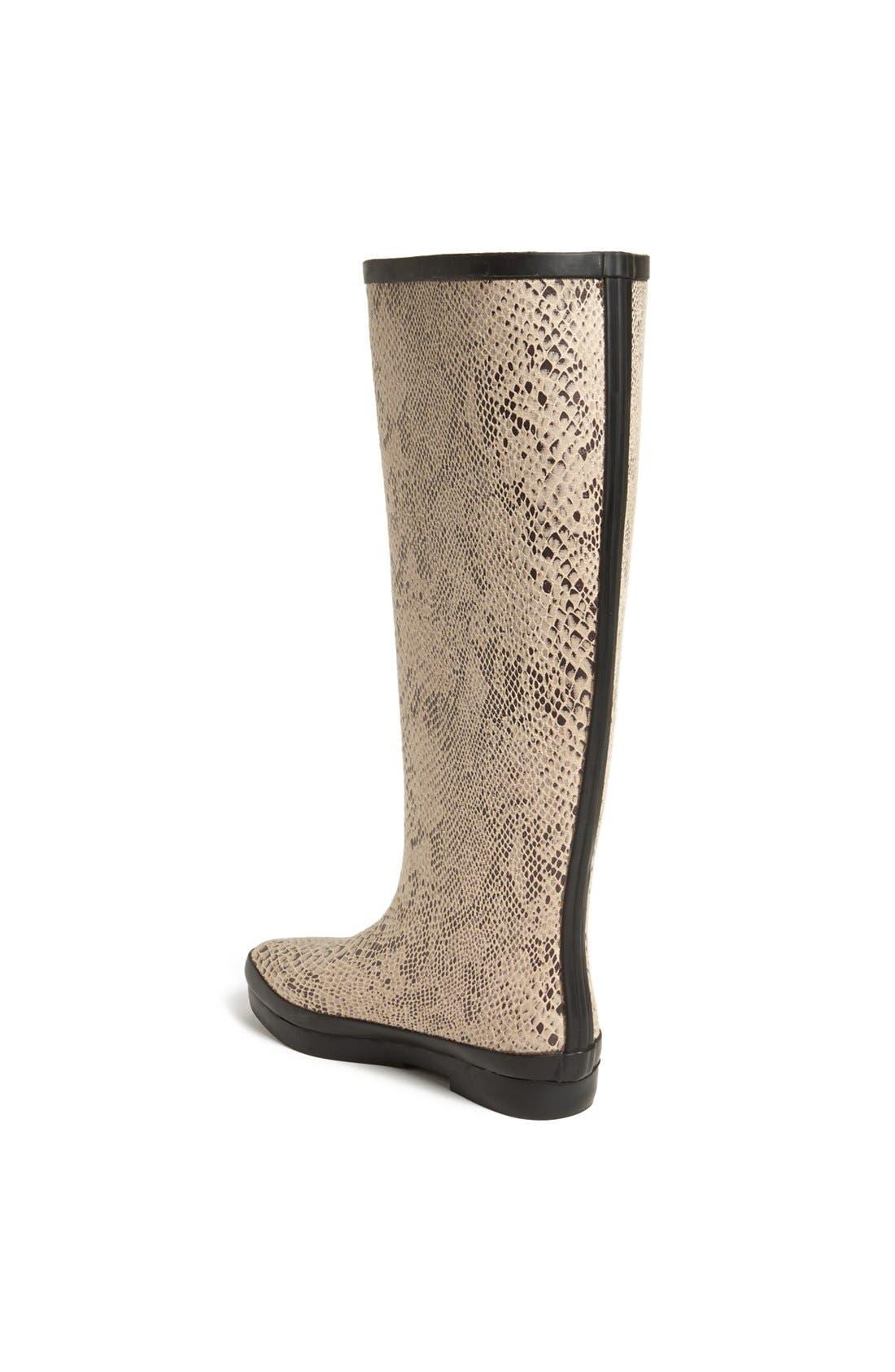 'Austin' Snake Embossed Rain Boot,                             Alternate thumbnail 2, color,                             Sand
