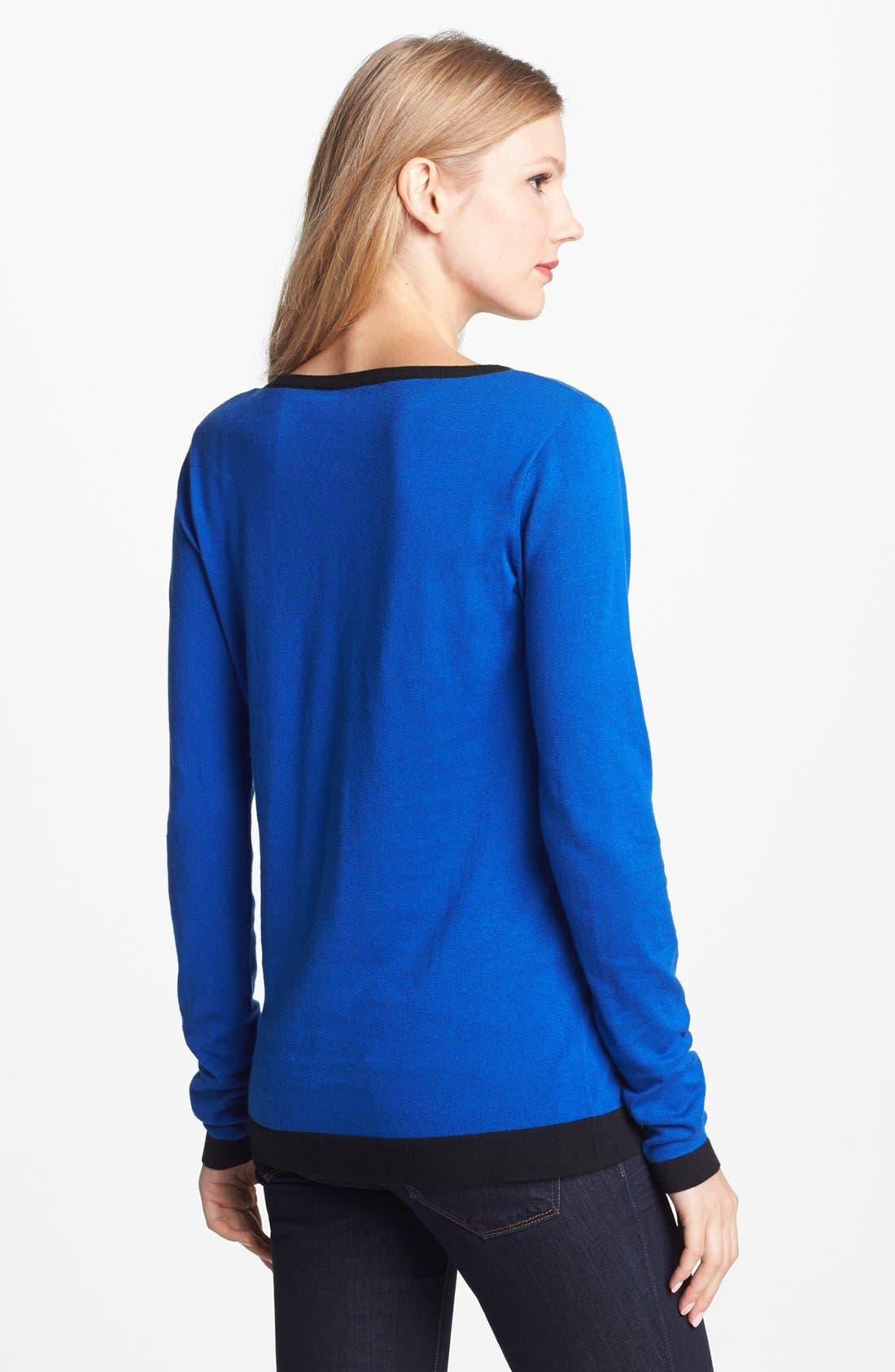 Alternate Image 2  - Vince Camuto Vertical Stripe Colorblock Cotton Blend Sweater