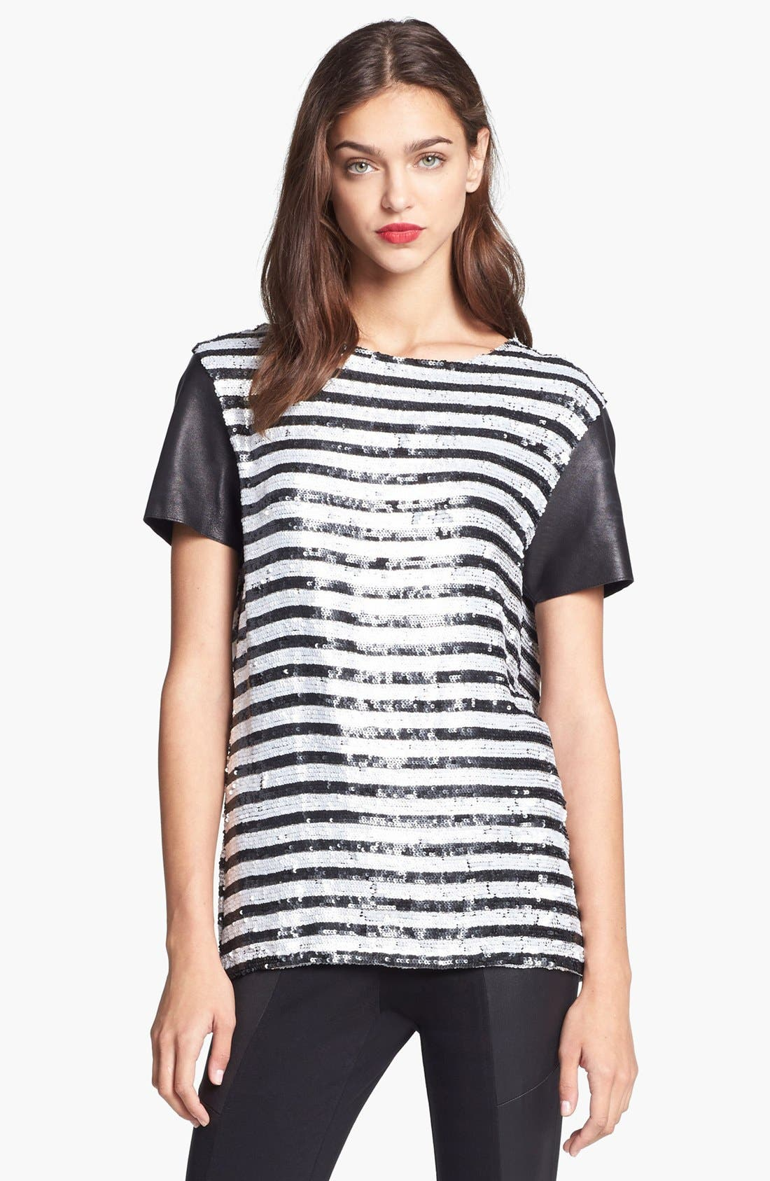 Alternate Image 1 Selected - Rachel Zoe Stripe Sequin Top