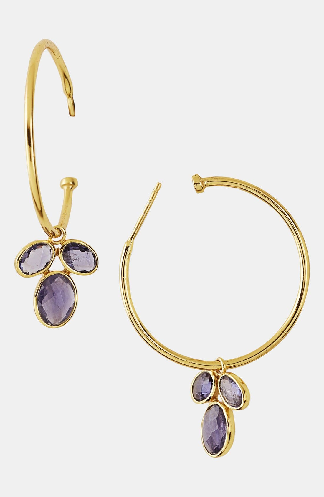 Main Image - Argento Vivo Cluster Charm Hoop Earrings