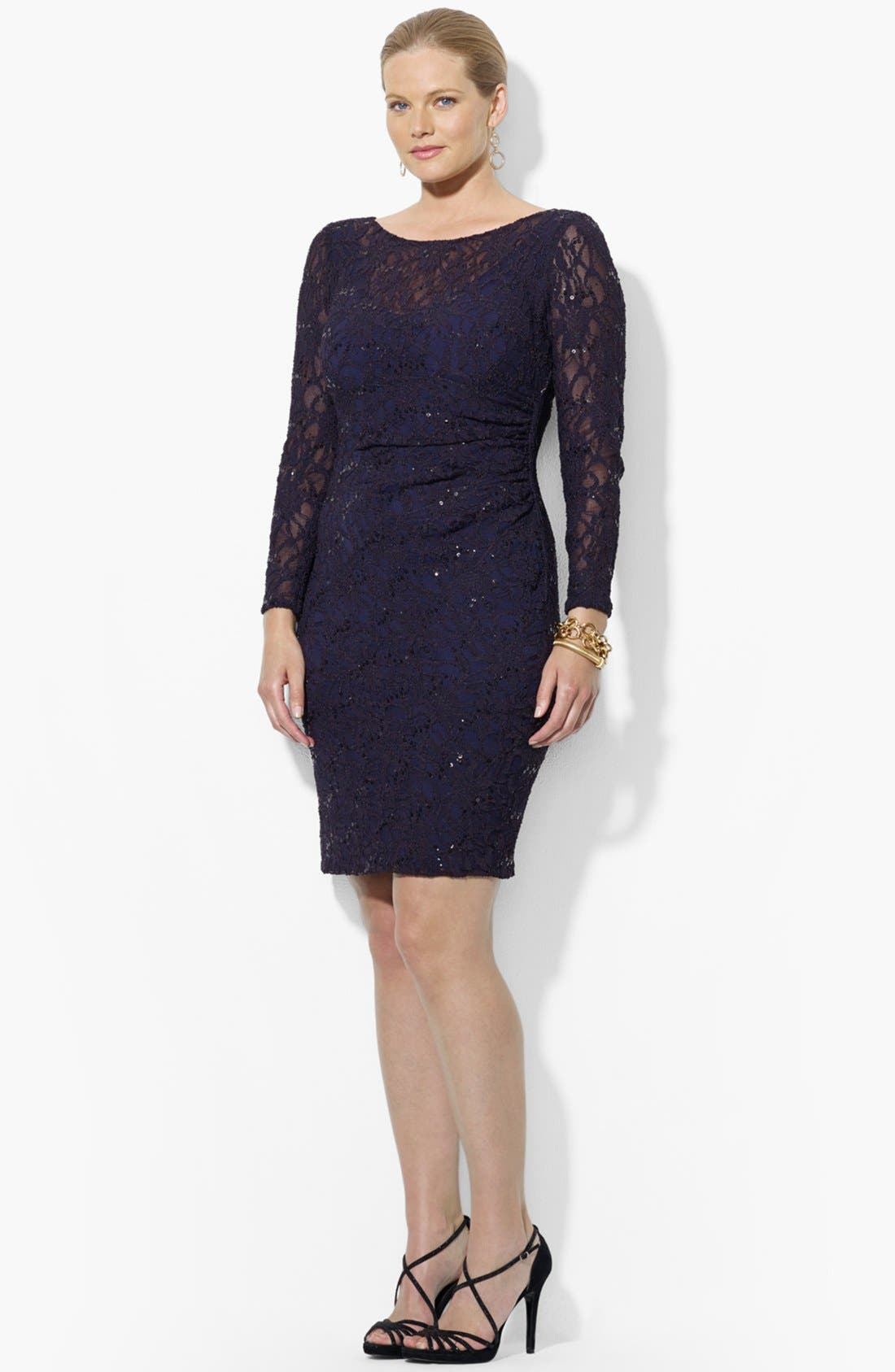Alternate Image 2  - Lauren Ralph Lauren Sequin Lace Sheath Dress (Plus Size)