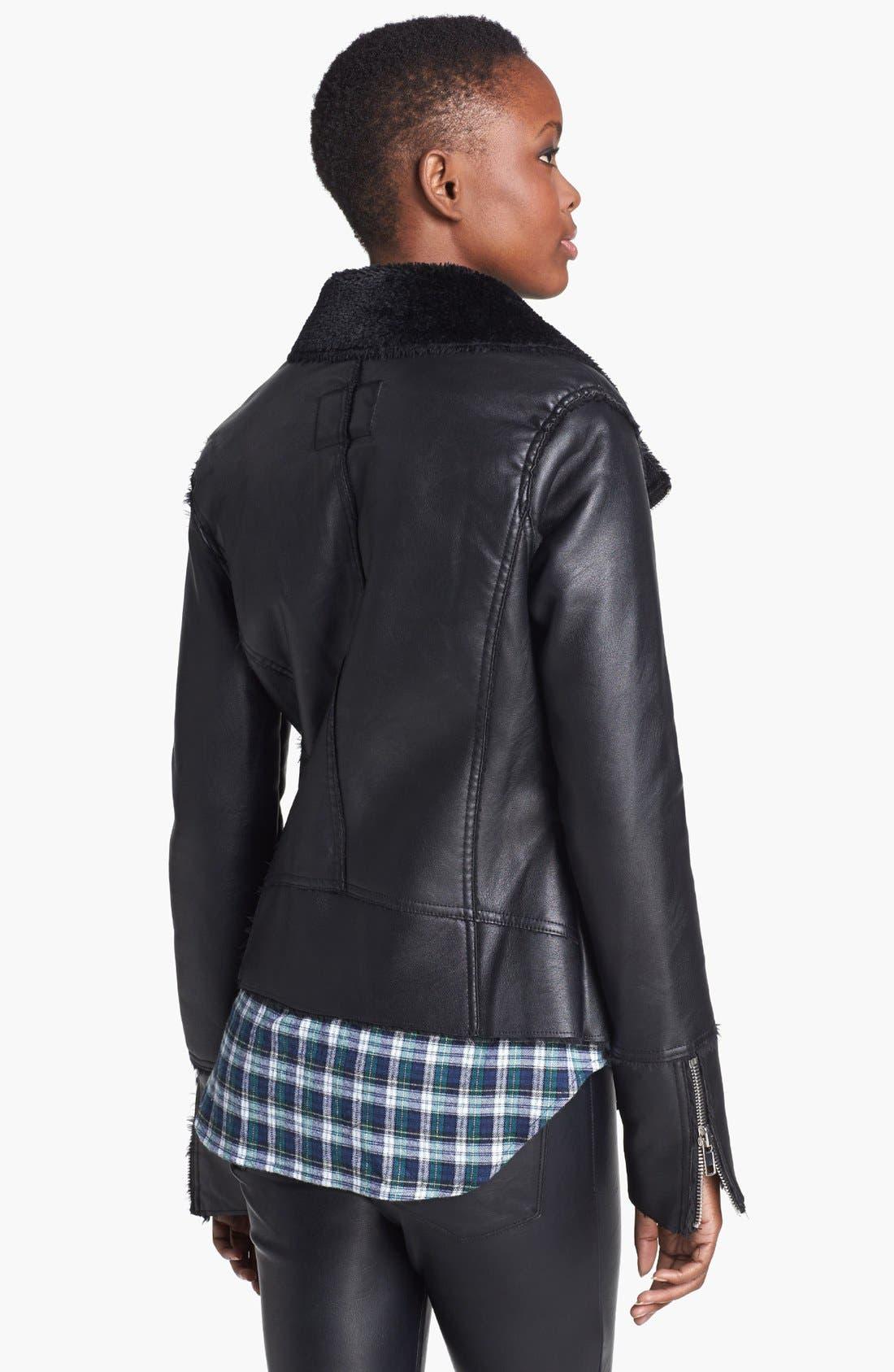 Alternate Image 2  - BLANKNYC 'Black Light' Faux Shearling Lined Faux Leather Jacket
