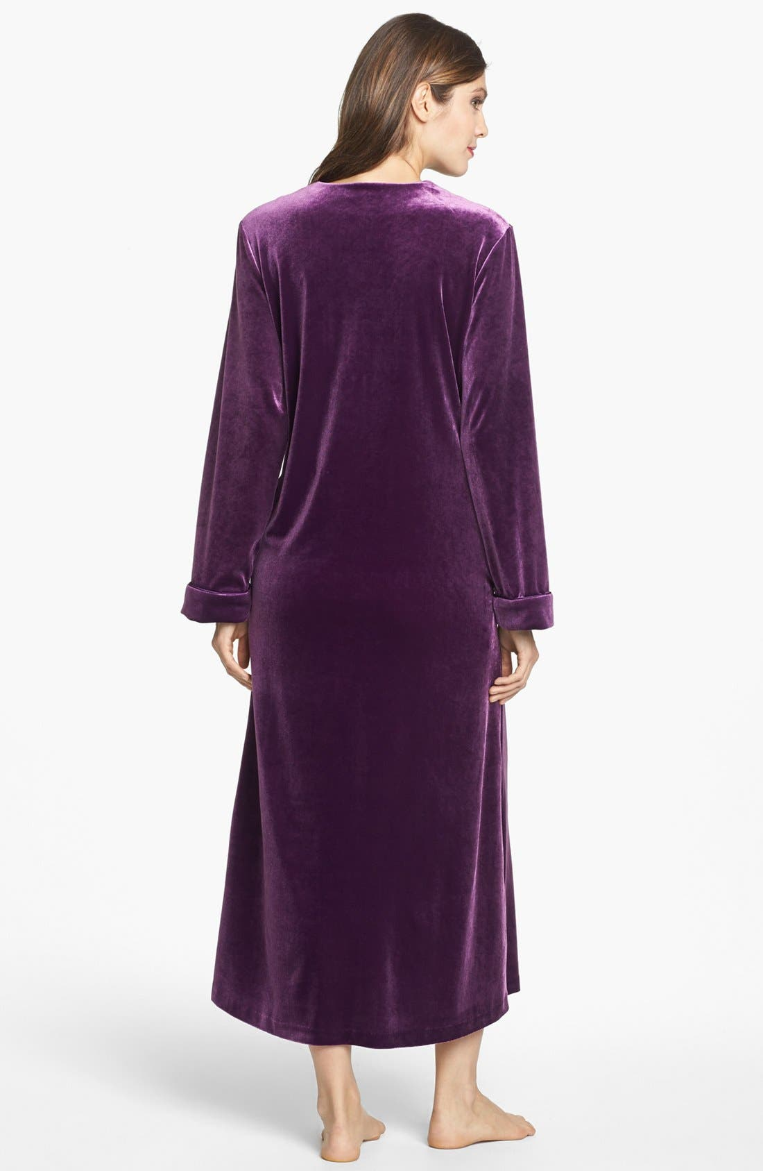 Alternate Image 2  - Oscar de la Renta Sleepwear 'Zahara Nights' Zip Front Velvet Robe