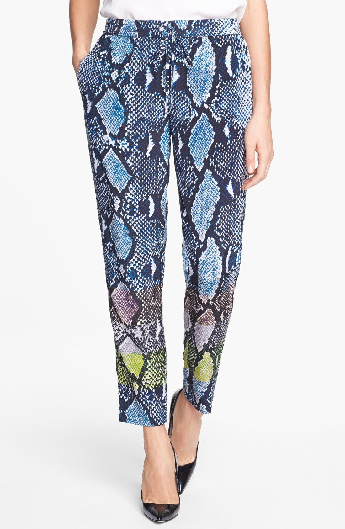Main Image - Diane von Furstenberg 'Benett Two' Snake Print Silk Pants