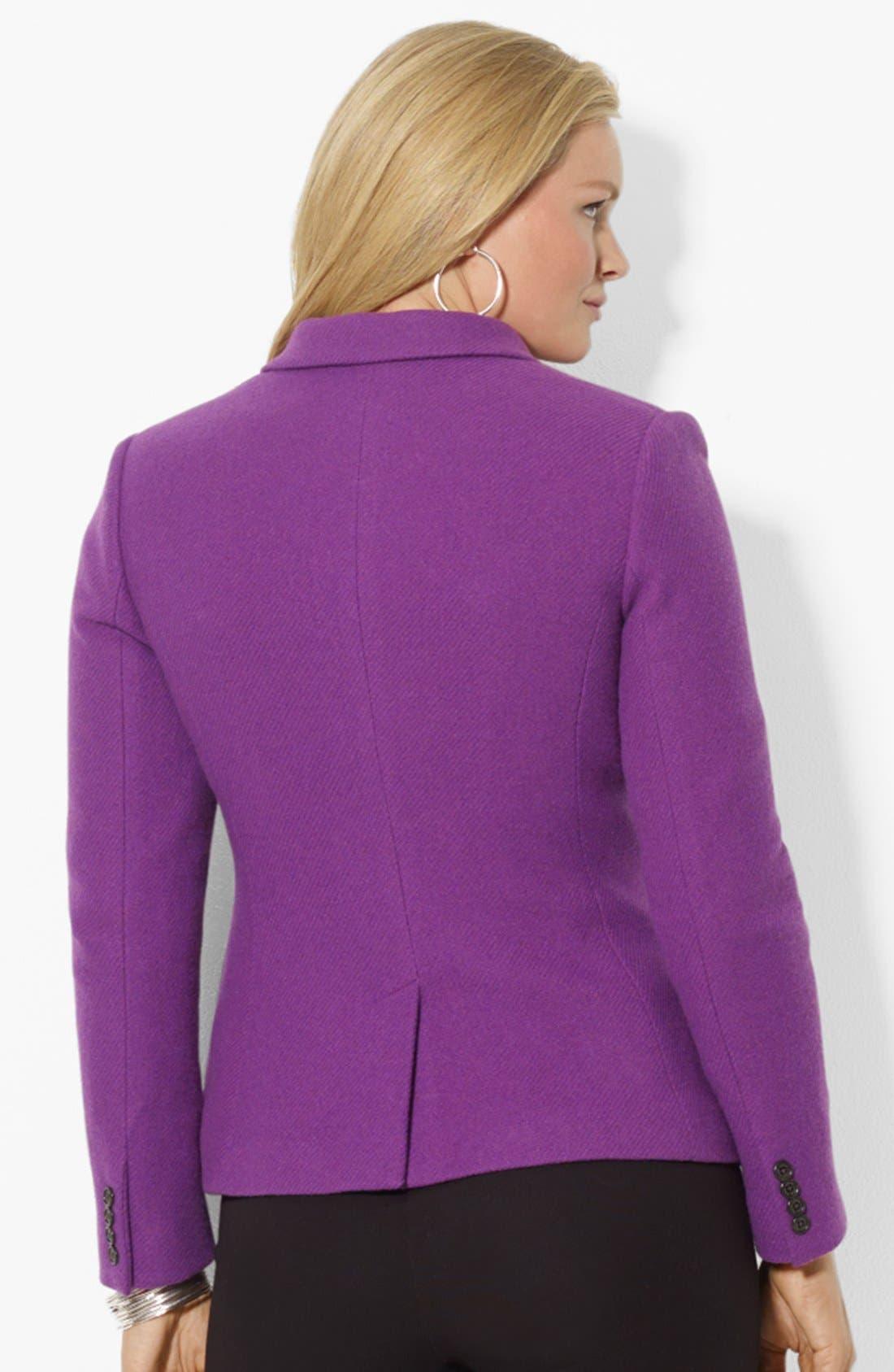 Alternate Image 2  - Lauren Ralph Lauren Wool Blend Hacking Jacket (Plus Size)