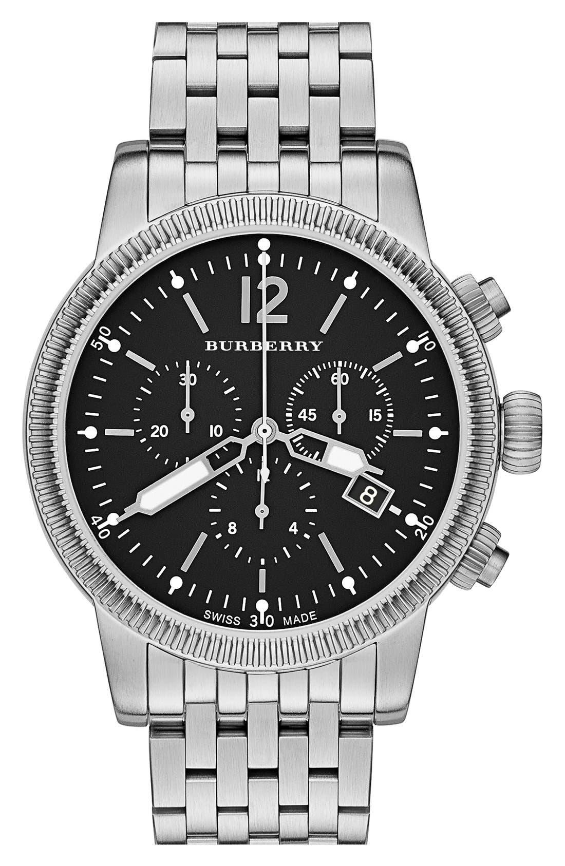 Main Image - Burberry Round Chronograph Bracelet Watch, 42mm