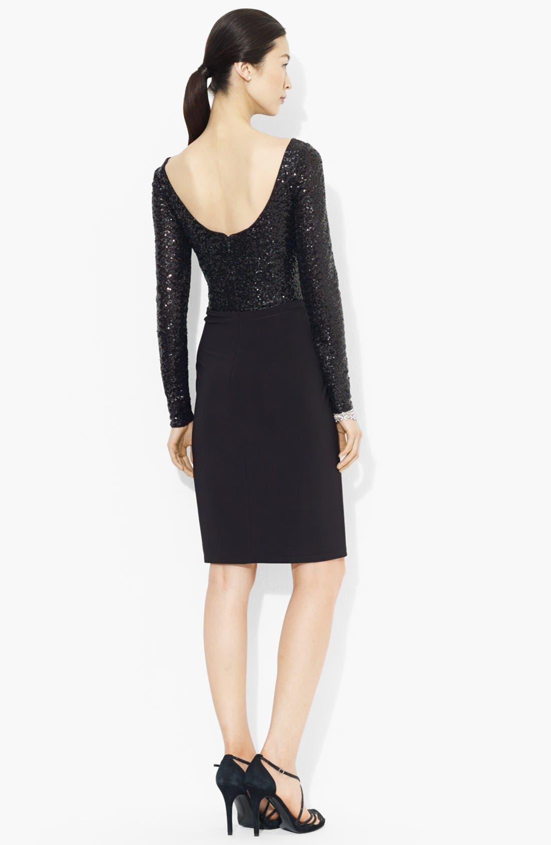 Alternate Image 2  - Lauren Ralph Lauren Sequin Bodice Jersey Dress