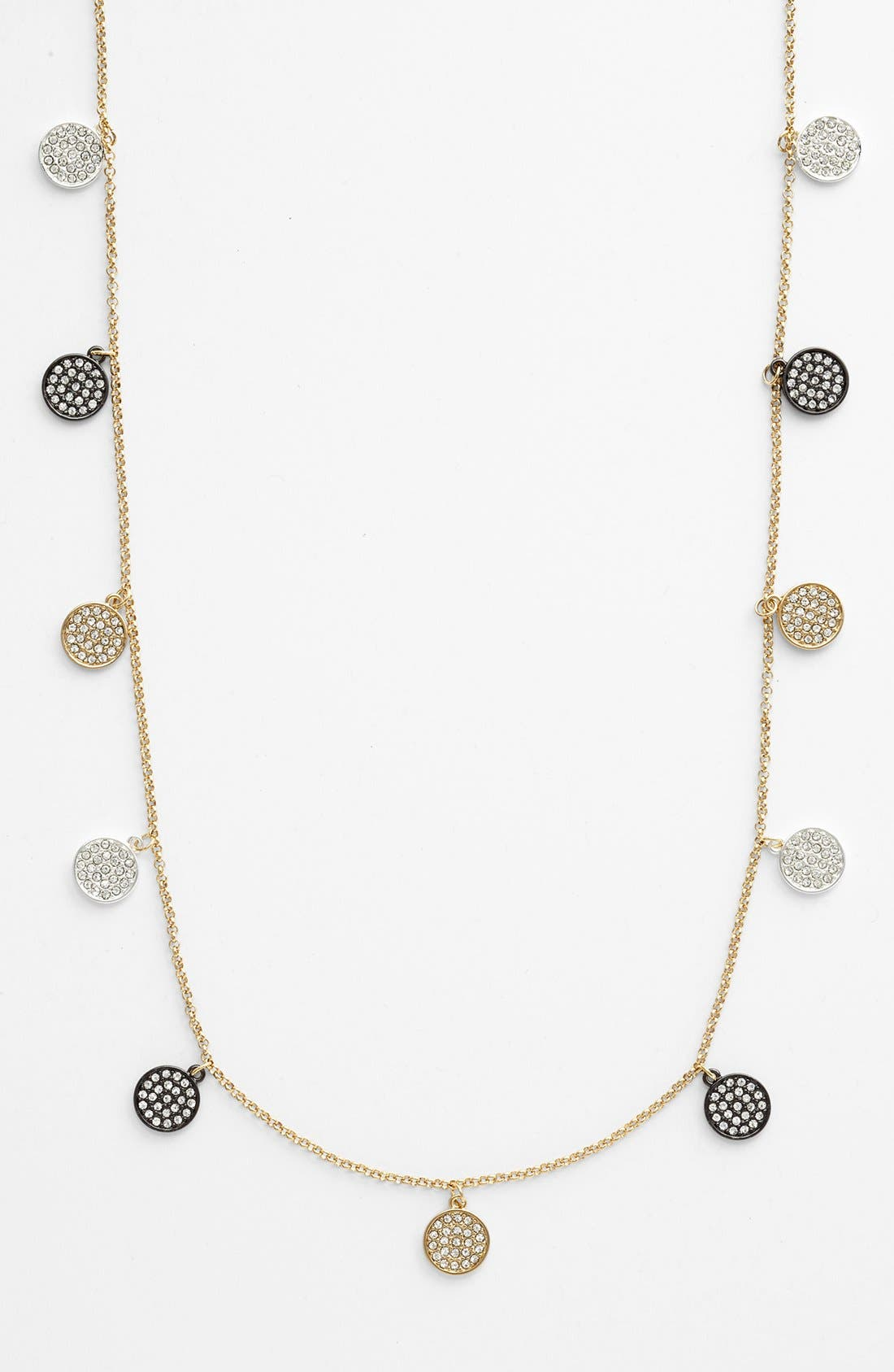 Alternate Image 2  - Lauren Ralph Lauren Pavé Disc Long Necklace