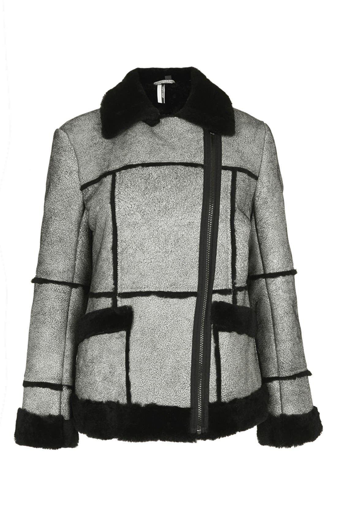 Main Image - Topshop 'The Collection Starring Kate Bosworth' Genuine Shearling Trim Jacket