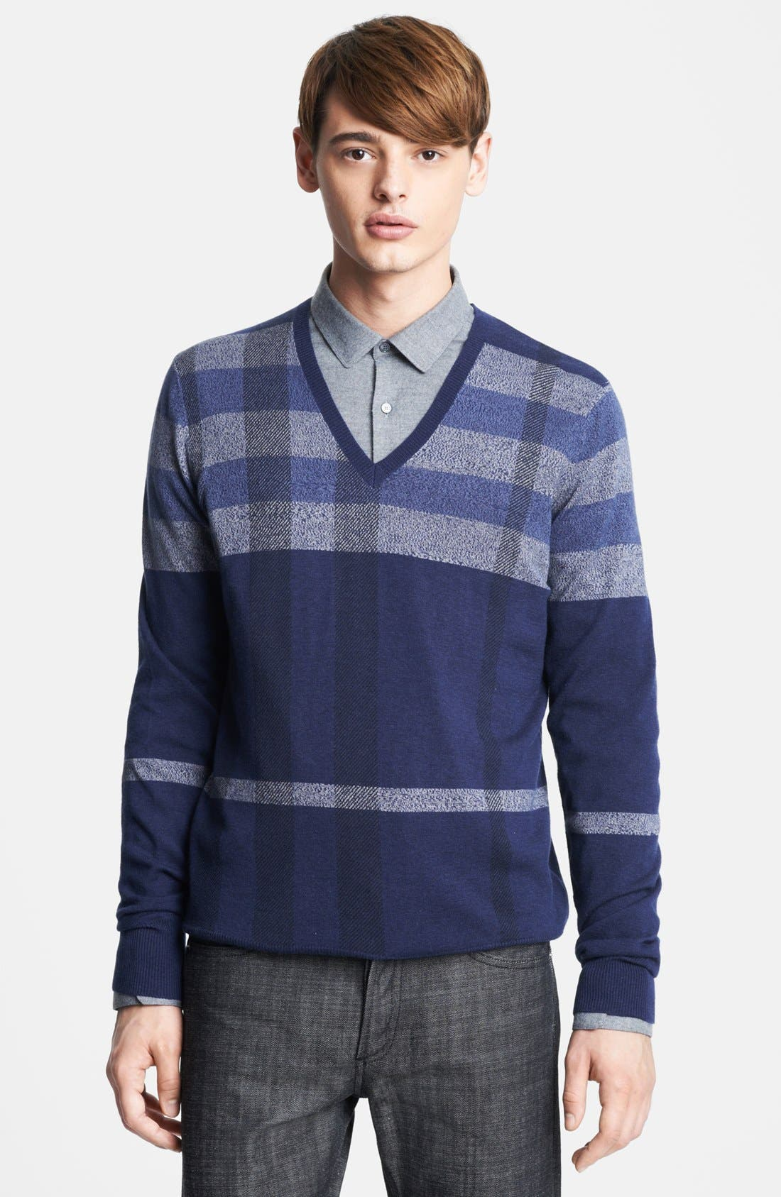 Main Image - Burberry London Plaid Wool Blend V-Neck Sweater