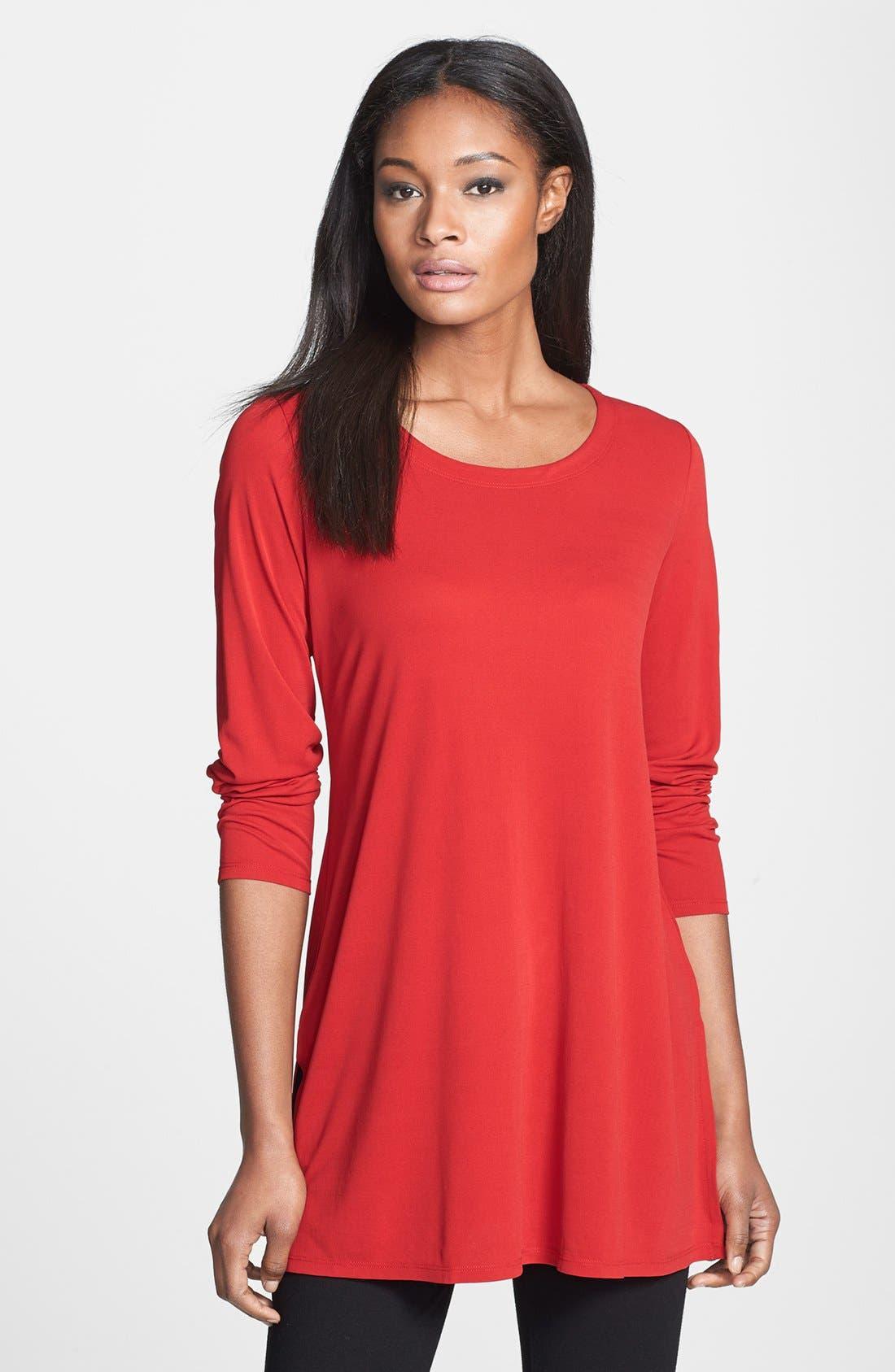 Main Image - Eileen Fisher Scoop Neck Silk Tunic (Online Exclusive)