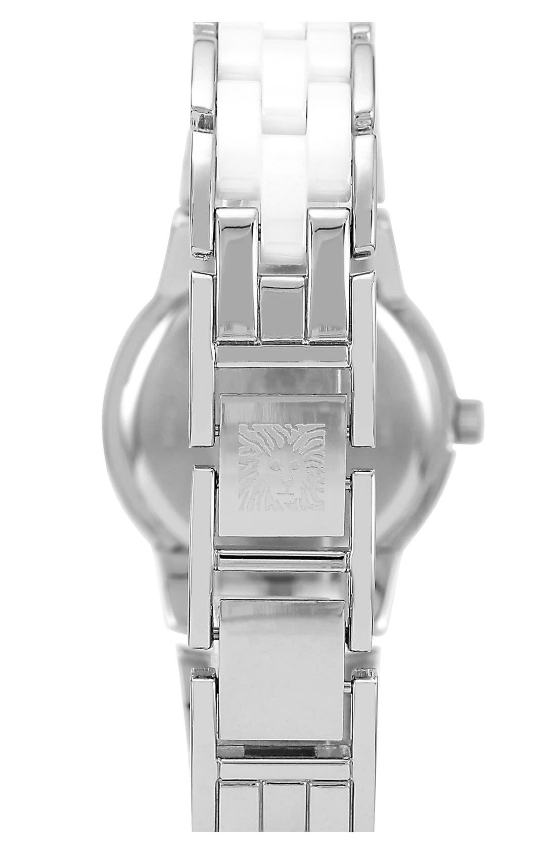 Alternate Image 2  - Anne Klein Crystal & Ceramic Bracelet Watch, 25mm