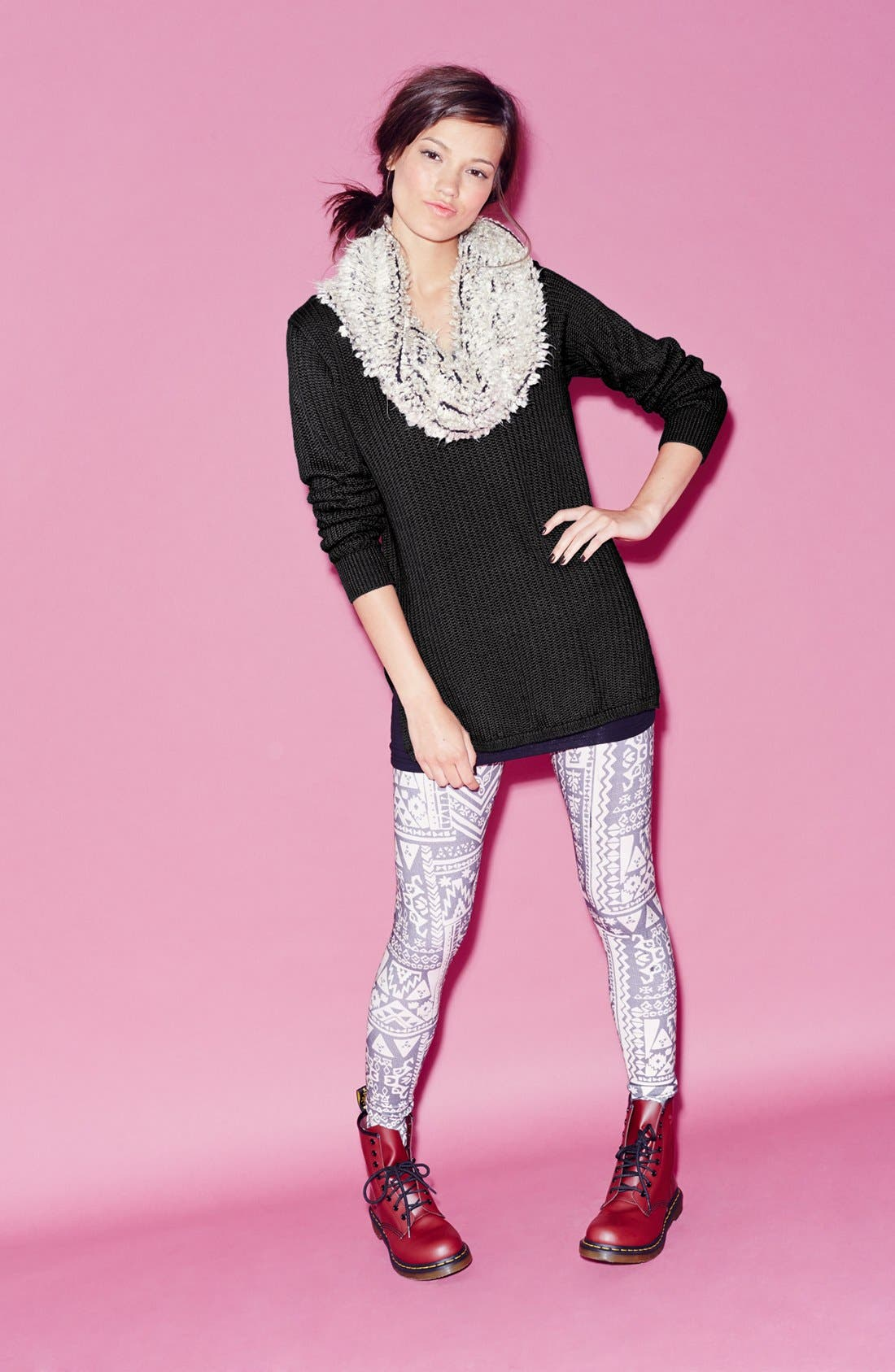 Alternate Image 4  - Mimi Chica Print Leggings (Juniors)
