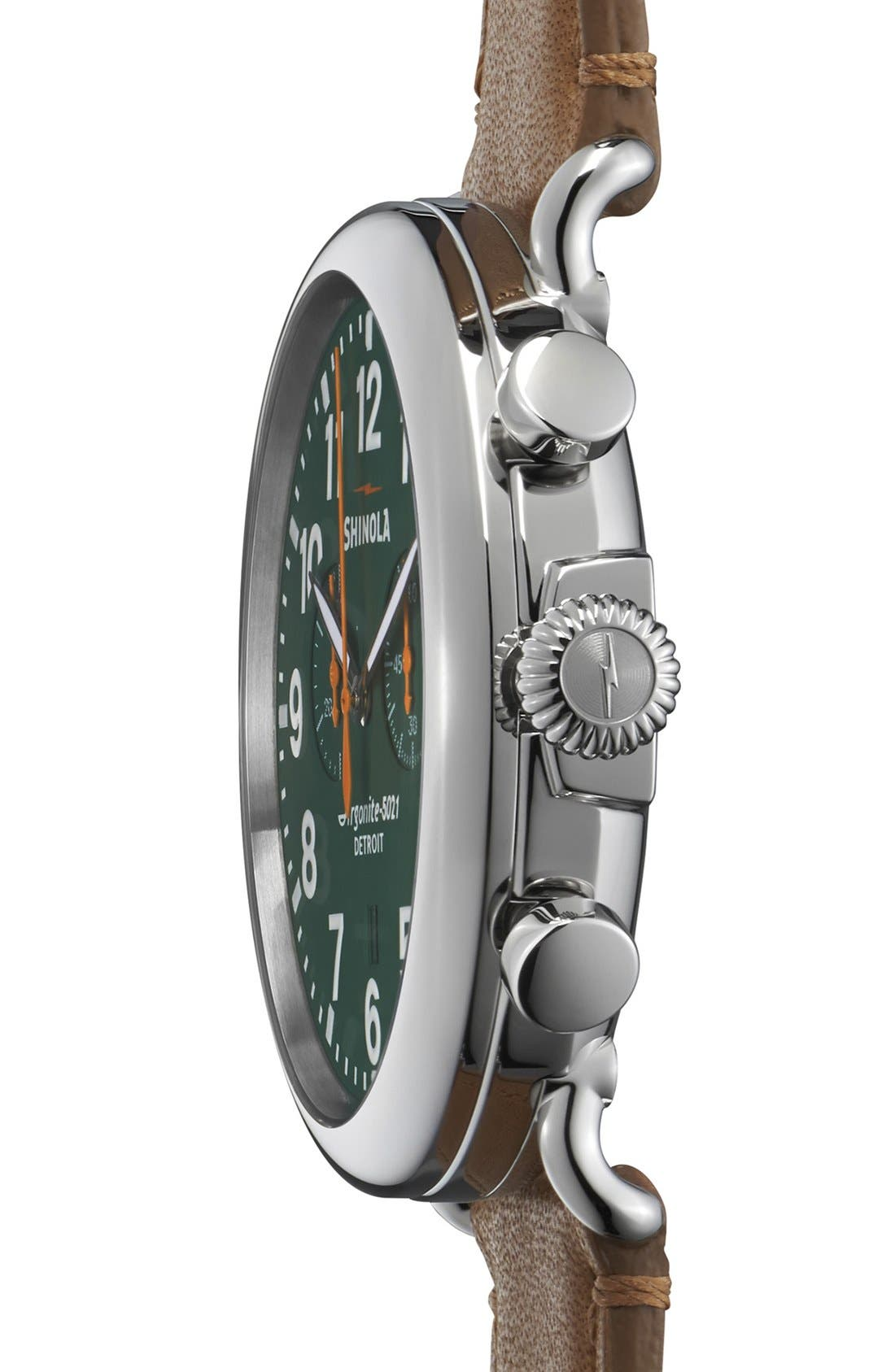 The Runwell Chrono Leather Strap Watch, 47mm,                             Alternate thumbnail 3, color,                             Brown/ Green