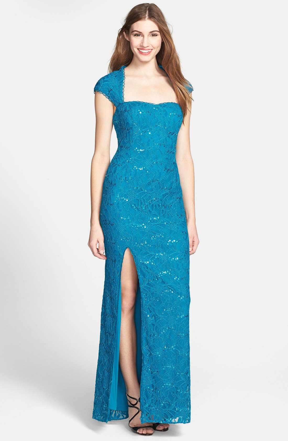 Alternate Image 1 Selected - Hailey by Adrianna Papell Embellished Lace Gown (Online Only)