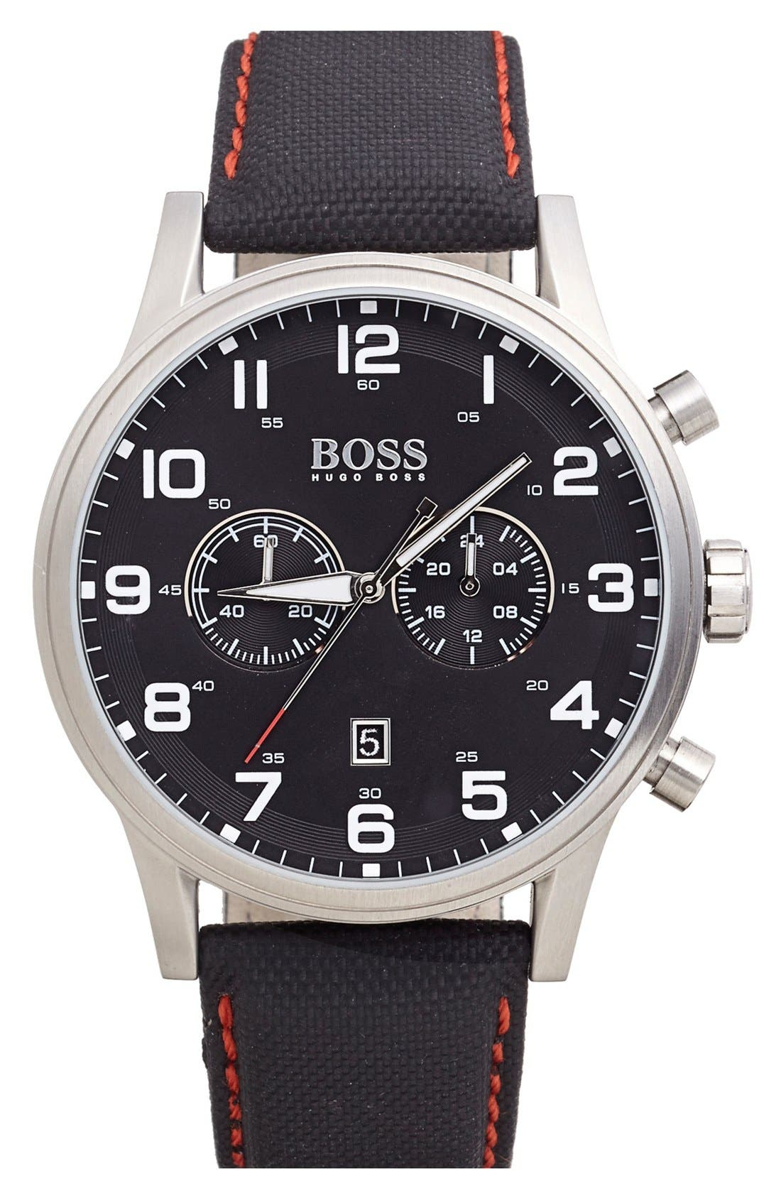 Alternate Image 1 Selected - BOSS Chronograph Textured Leather Strap Watch, 44mm