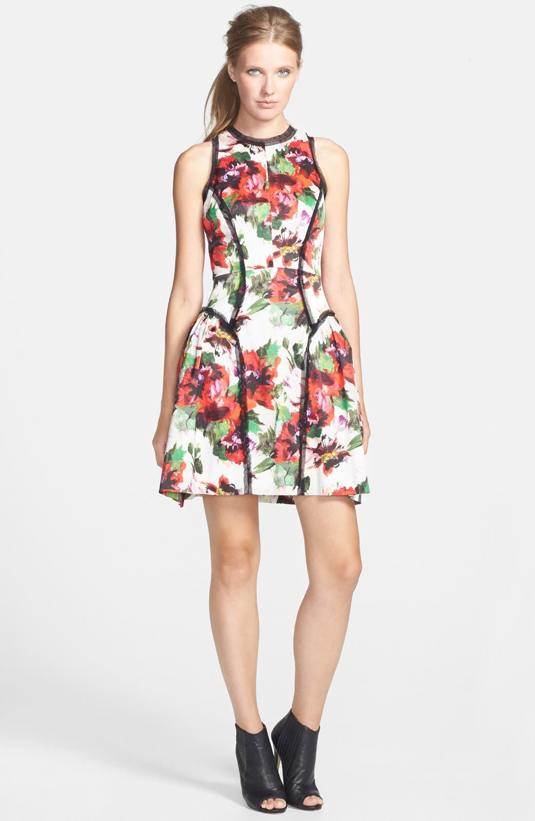 Paneled Silk Party Dress,                         Main,                         color, Multi