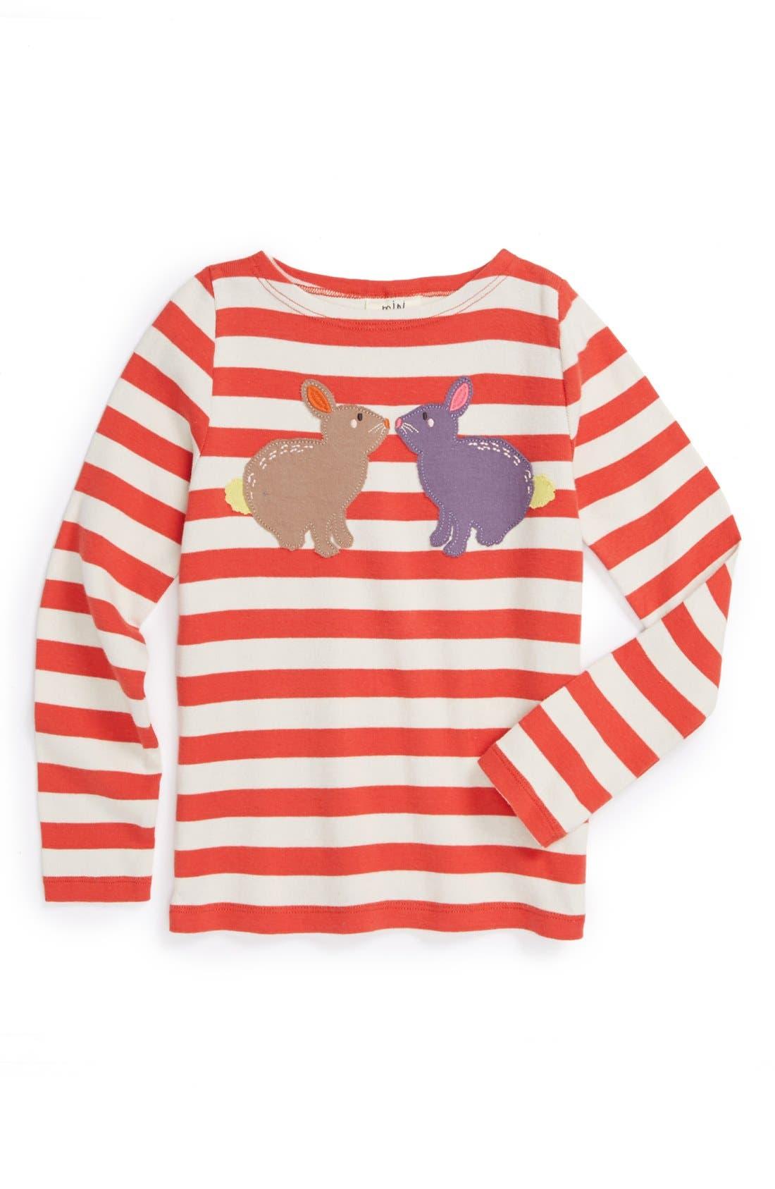 Alternate Image 1 Selected - Mini Boden 'Stripy Animal' Tee (Little Girls & Big Girls)