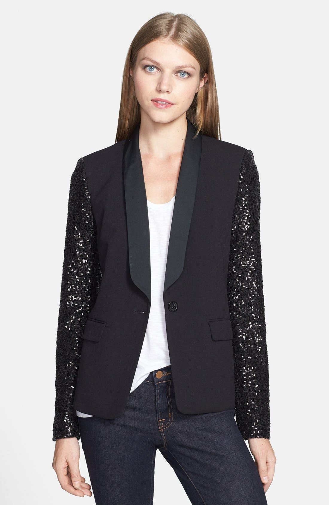 Alternate Image 1 Selected - MICHAEL Michael Kors Sequin Sleeve Tuxedo Blazer