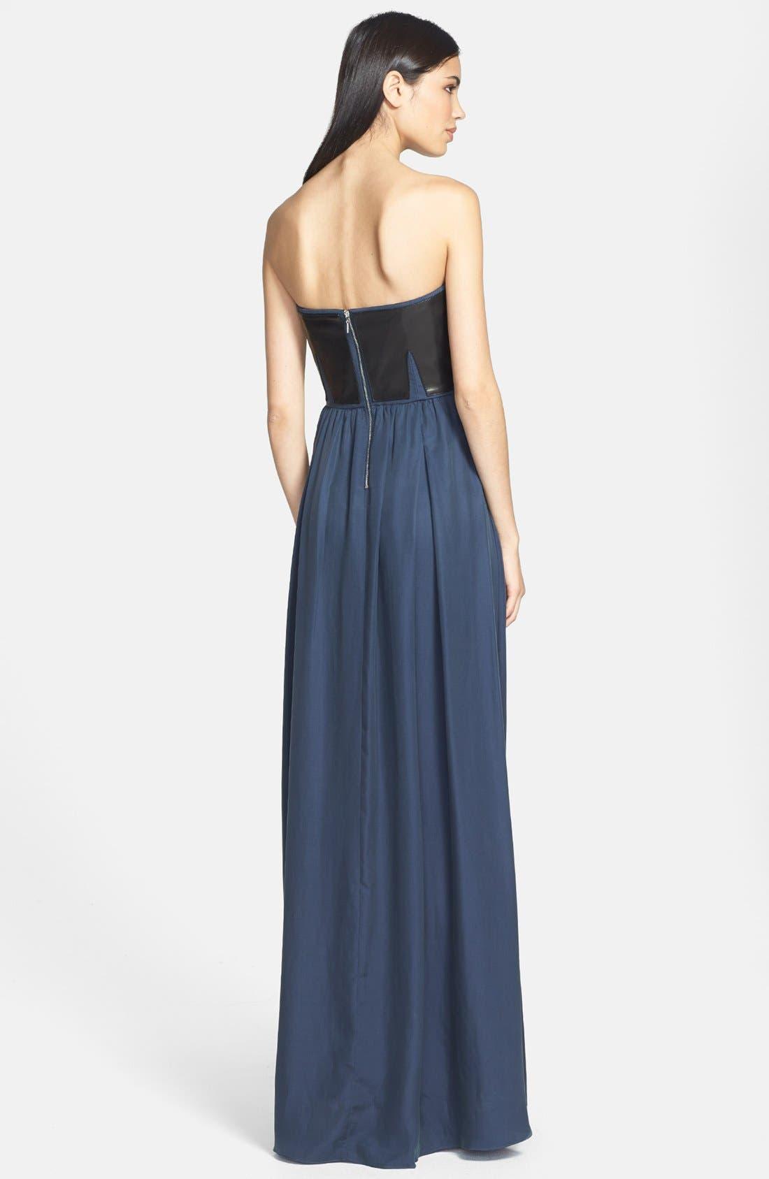 Alternate Image 2  - Rebecca Taylor Strapless Leather Panel Maxi Dress
